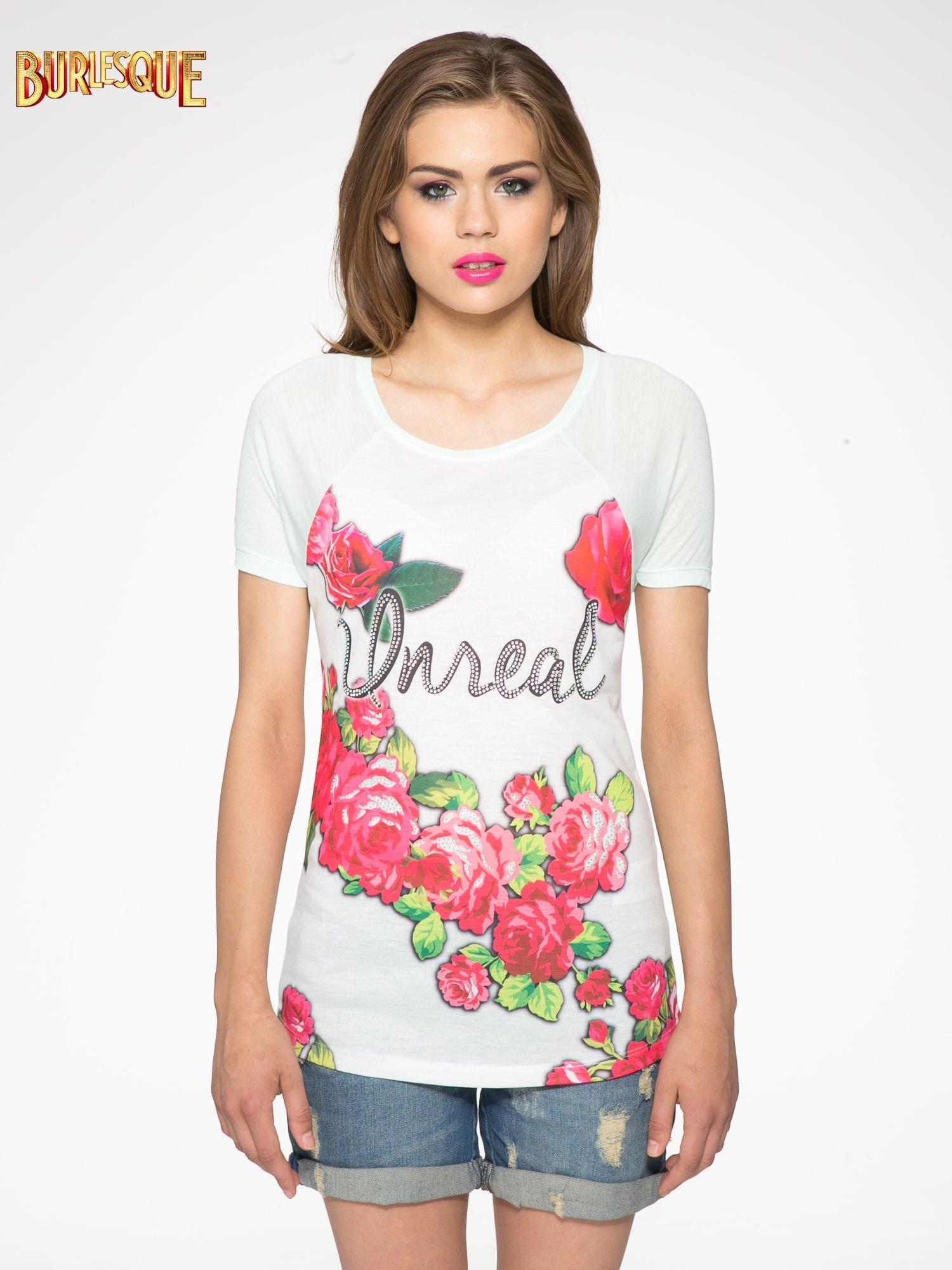 Jasnozielony t-shirt z kwiatowym nadrukiem i napisem UNREAL                                  zdj.                                  11