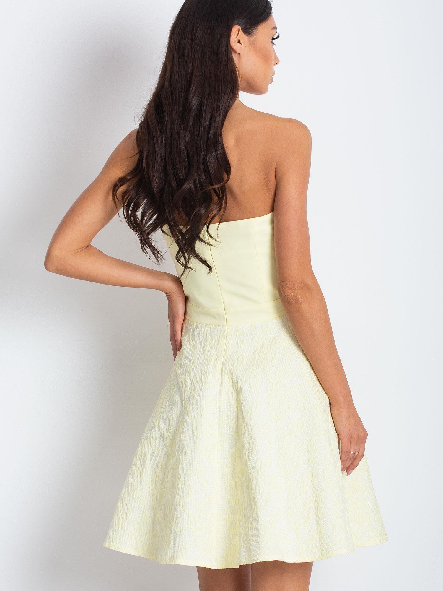 8fb019da70 Jasnożółta rozkloszowana sukienka bez ramiączek - Sukienka ...