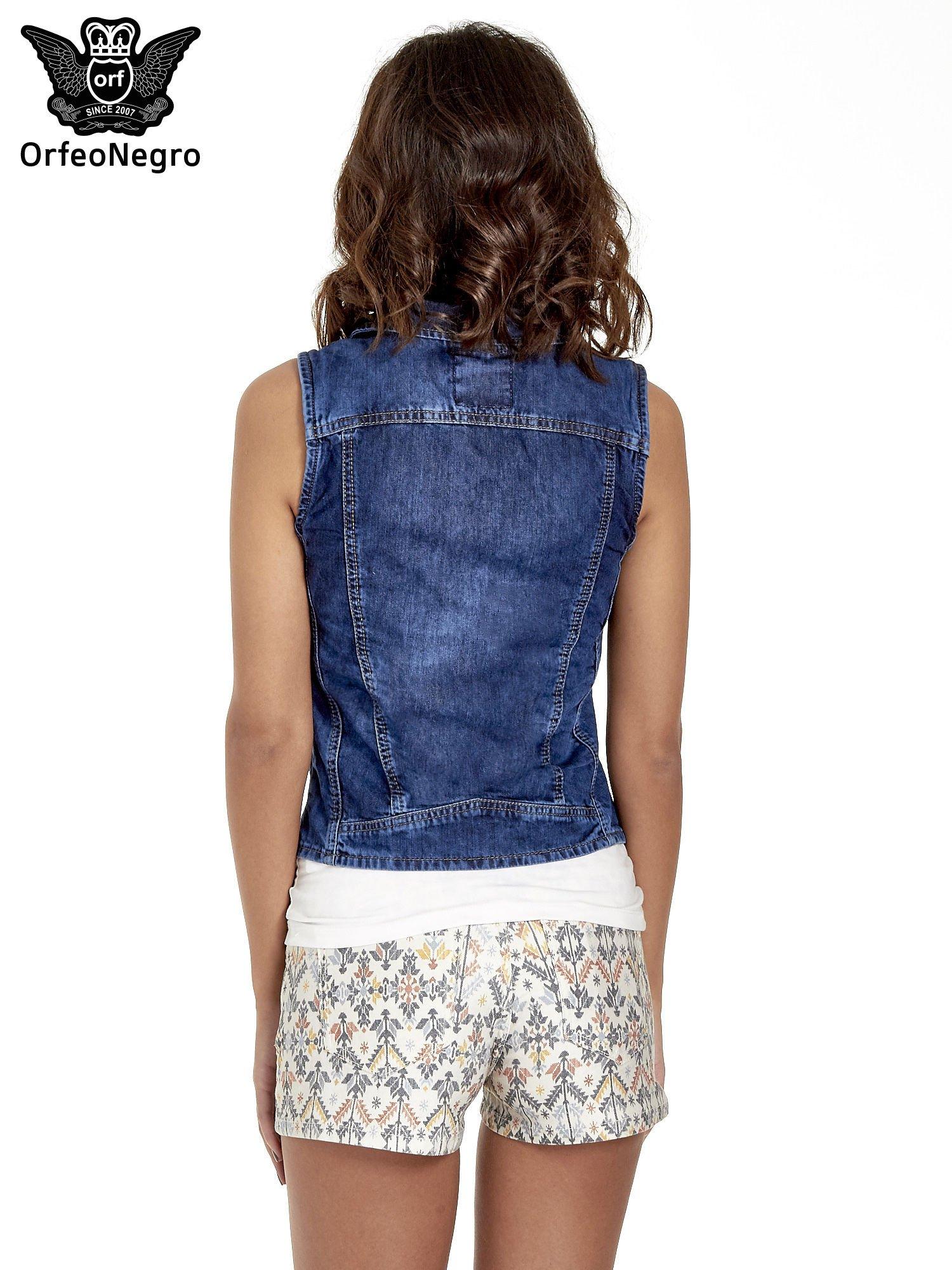 Jeansowa kamizelka w stylu biker                                  zdj.                                  4