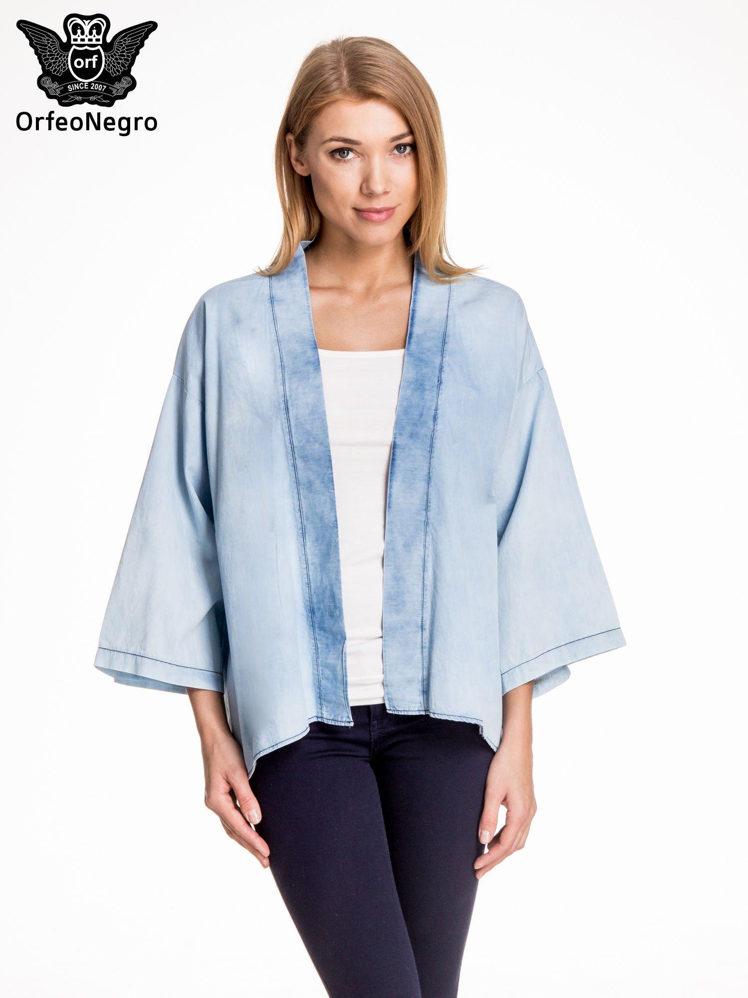 Jeansowa koszula narzutka o kroju kimono                                  zdj.                                  1