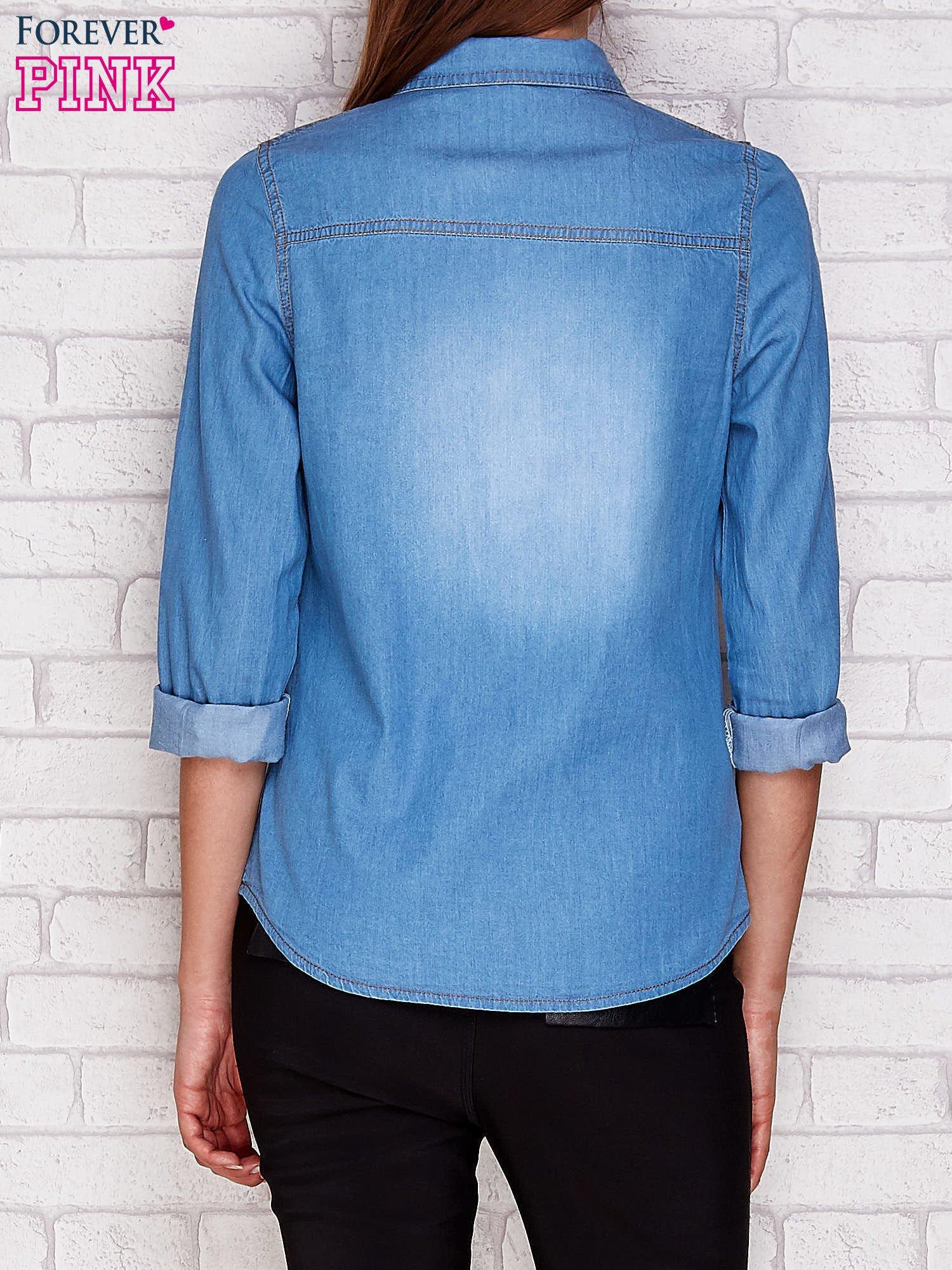 Jeansowa koszula ze skórzanymi wstawkami niebieska