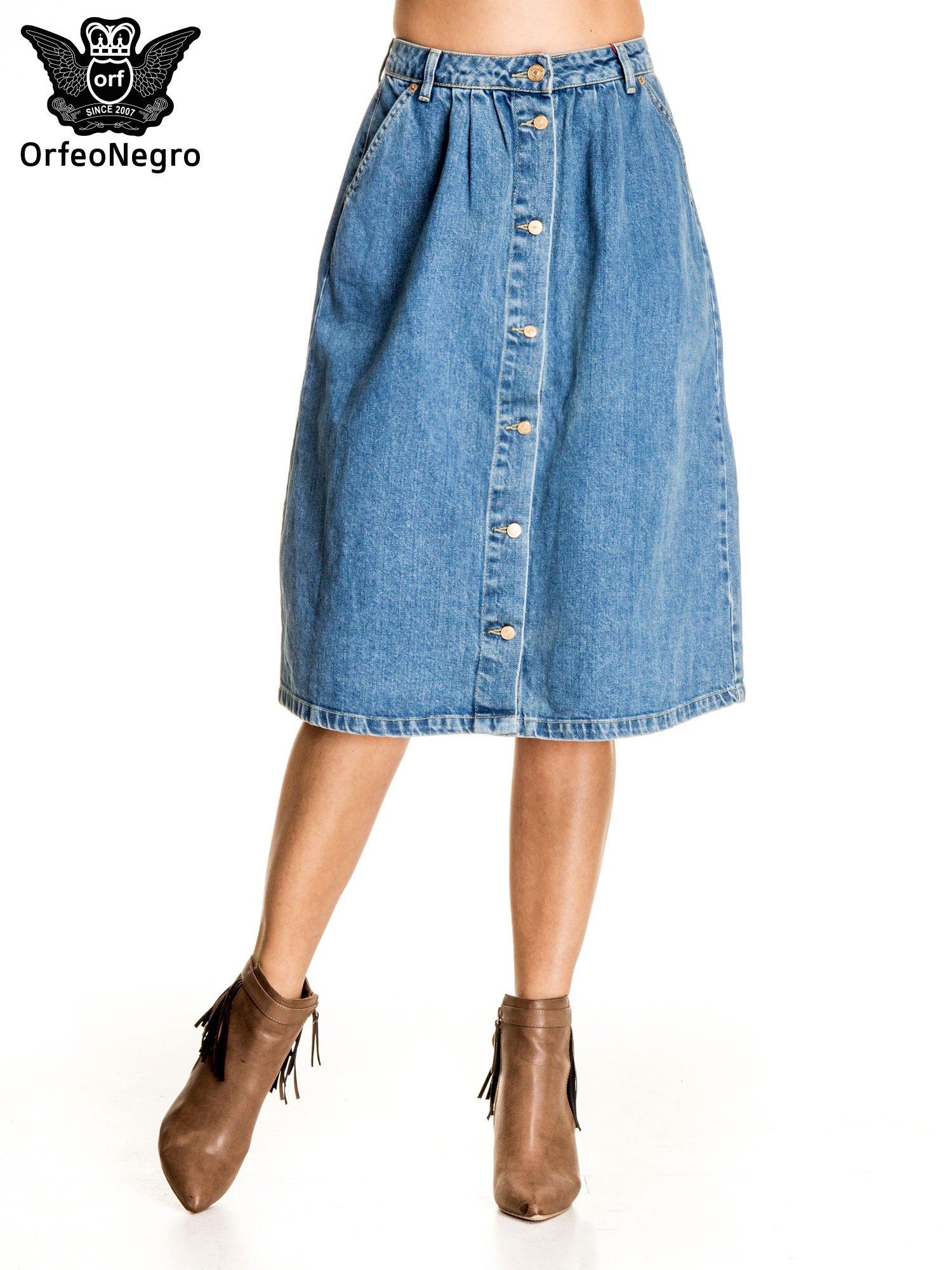 91125d2e Jeansowa spódnica z guzikami w stylu vintage