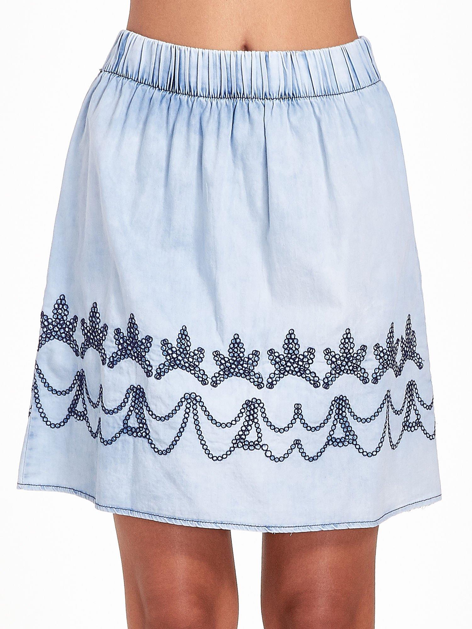 Jeansowa spódnica z haftem                                  zdj.                                  6