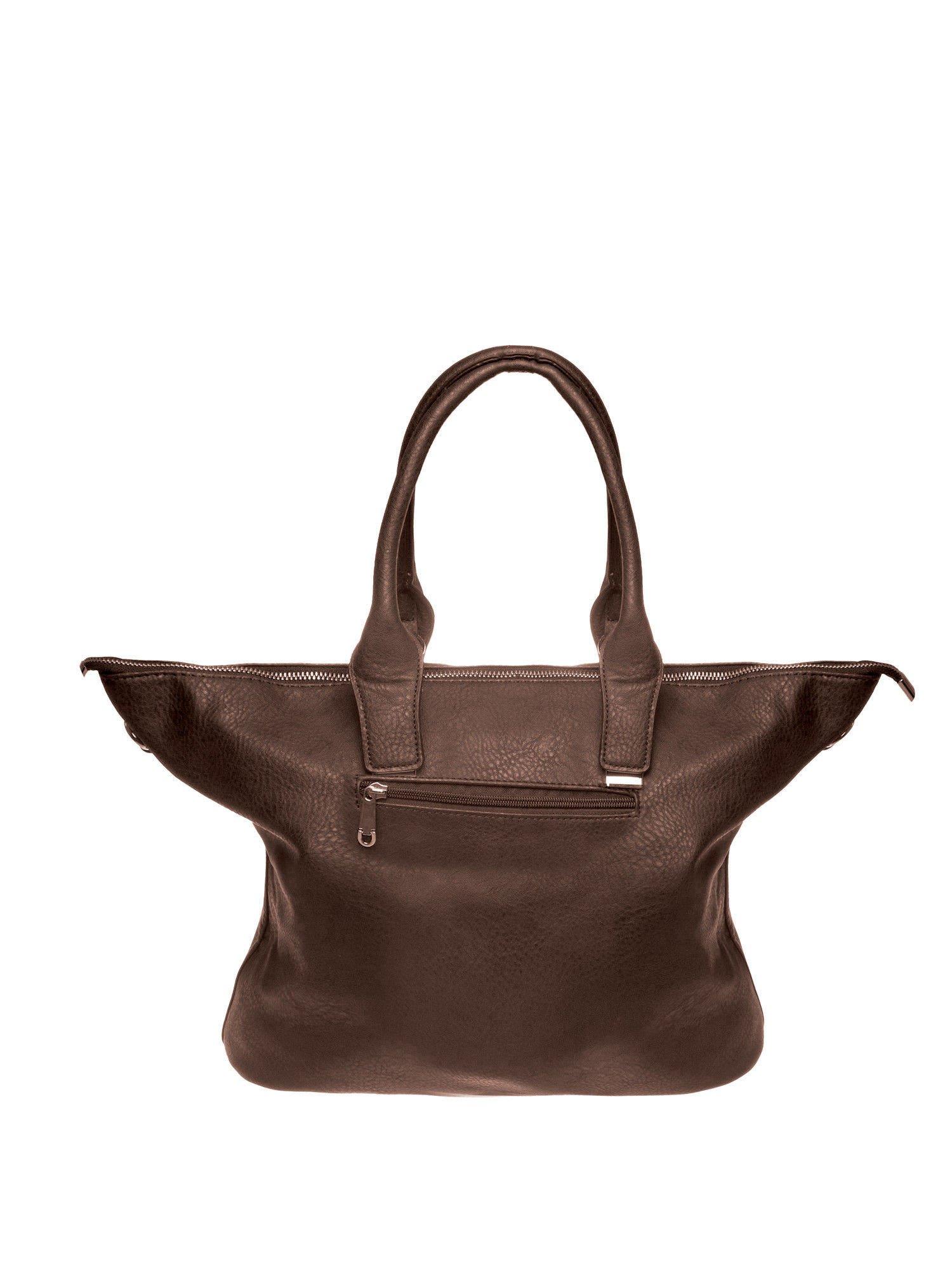 Kawowa torba shopper bag ze złotymi detalami                                  zdj.                                  2