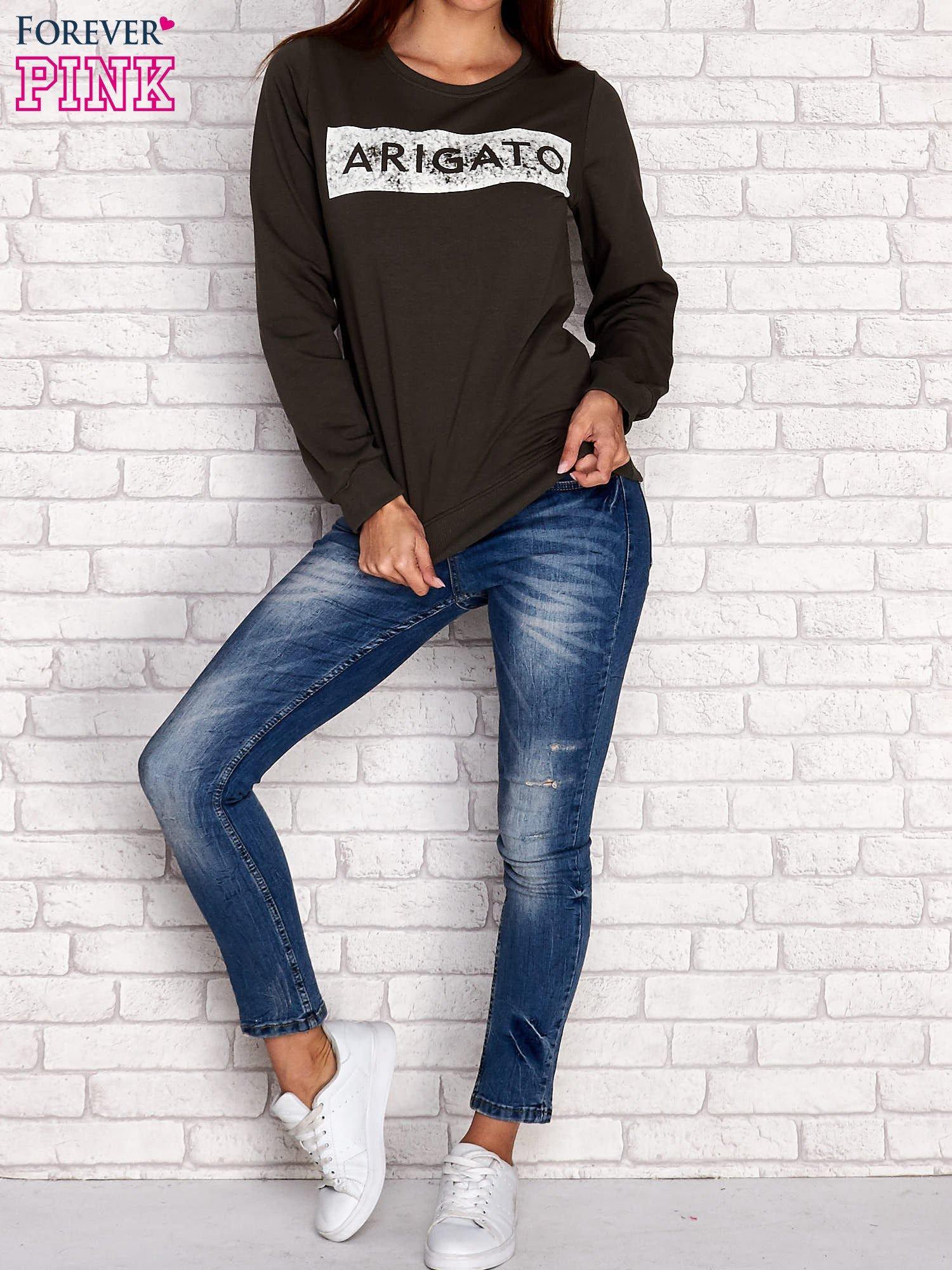Khaki bluza z napisem ARIGATO                                  zdj.                                  4