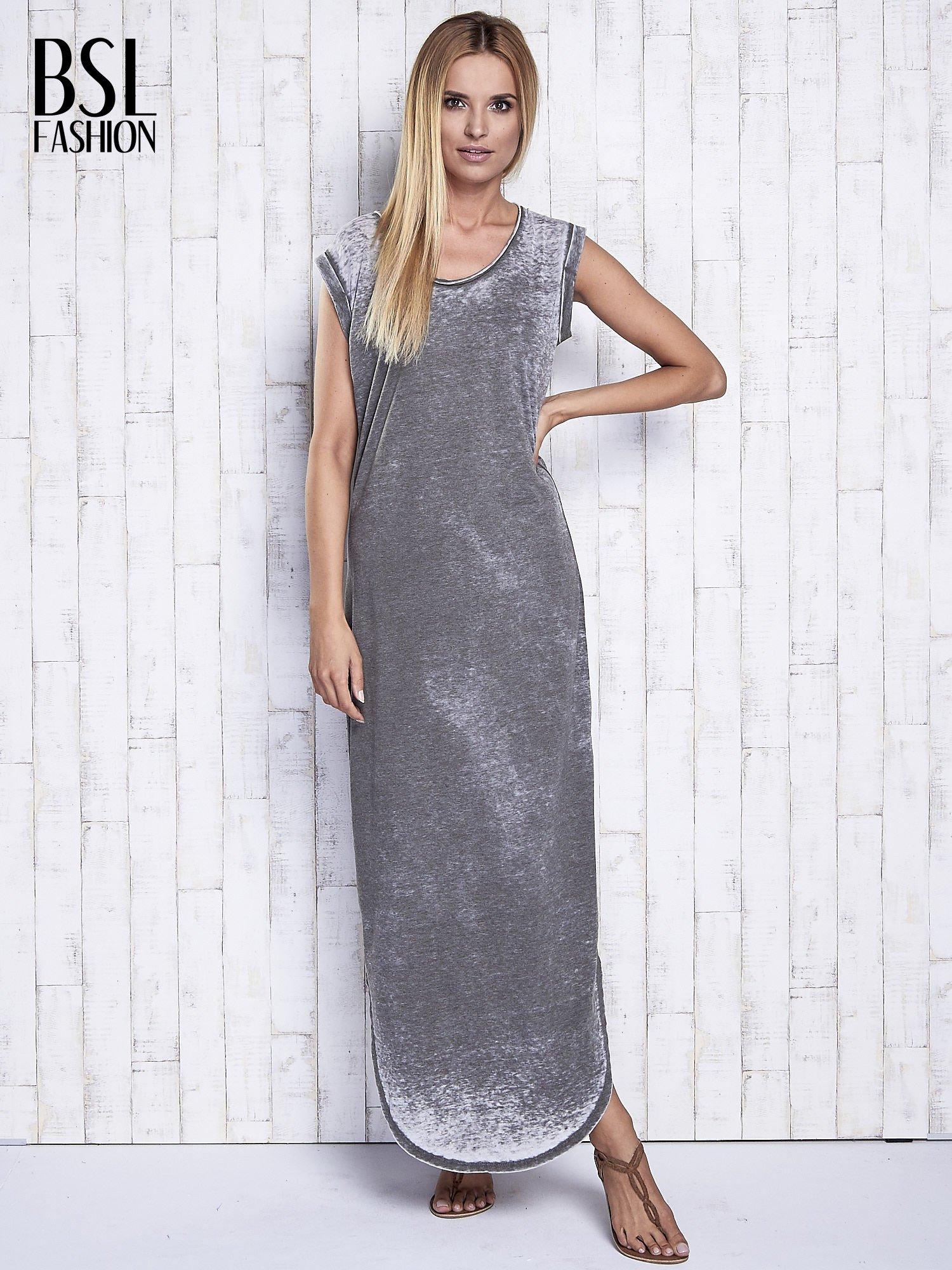 Khaki długa sukienka acid wash                                   zdj.                                  4
