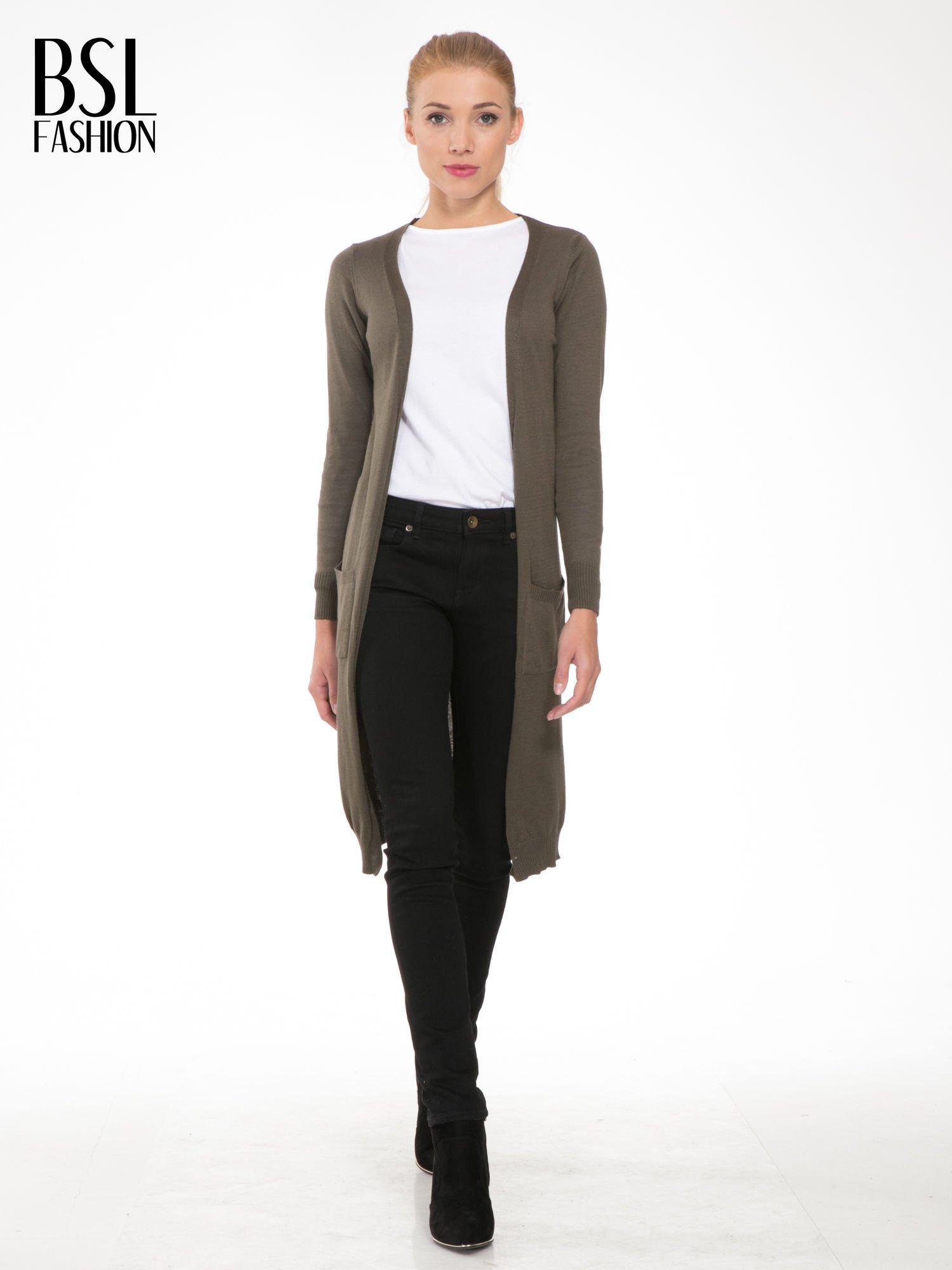 Khaki długi gładki sweter kardigan z kieszeniami                                  zdj.                                  2