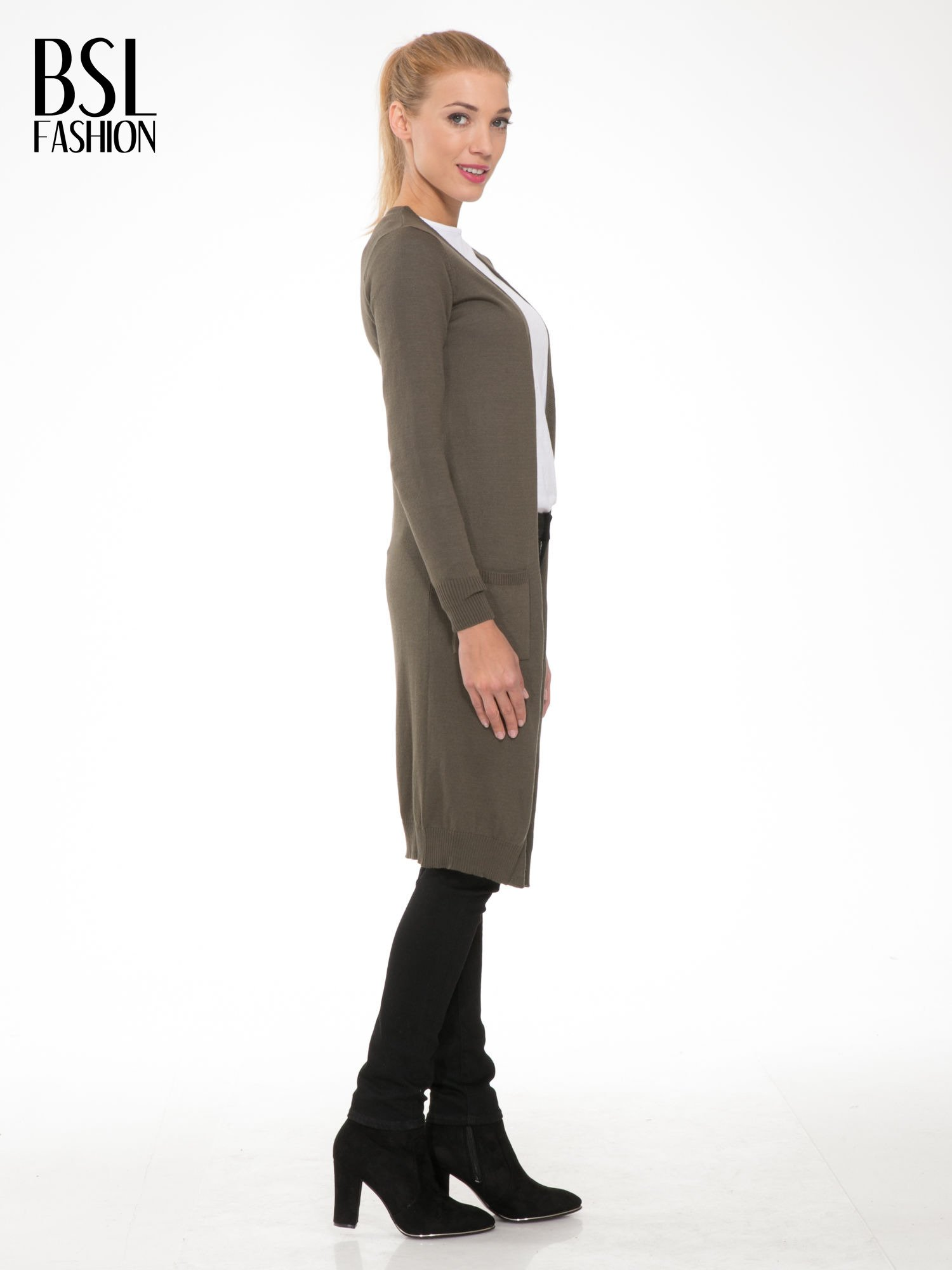 Khaki długi gładki sweter kardigan z kieszeniami                                  zdj.                                  3