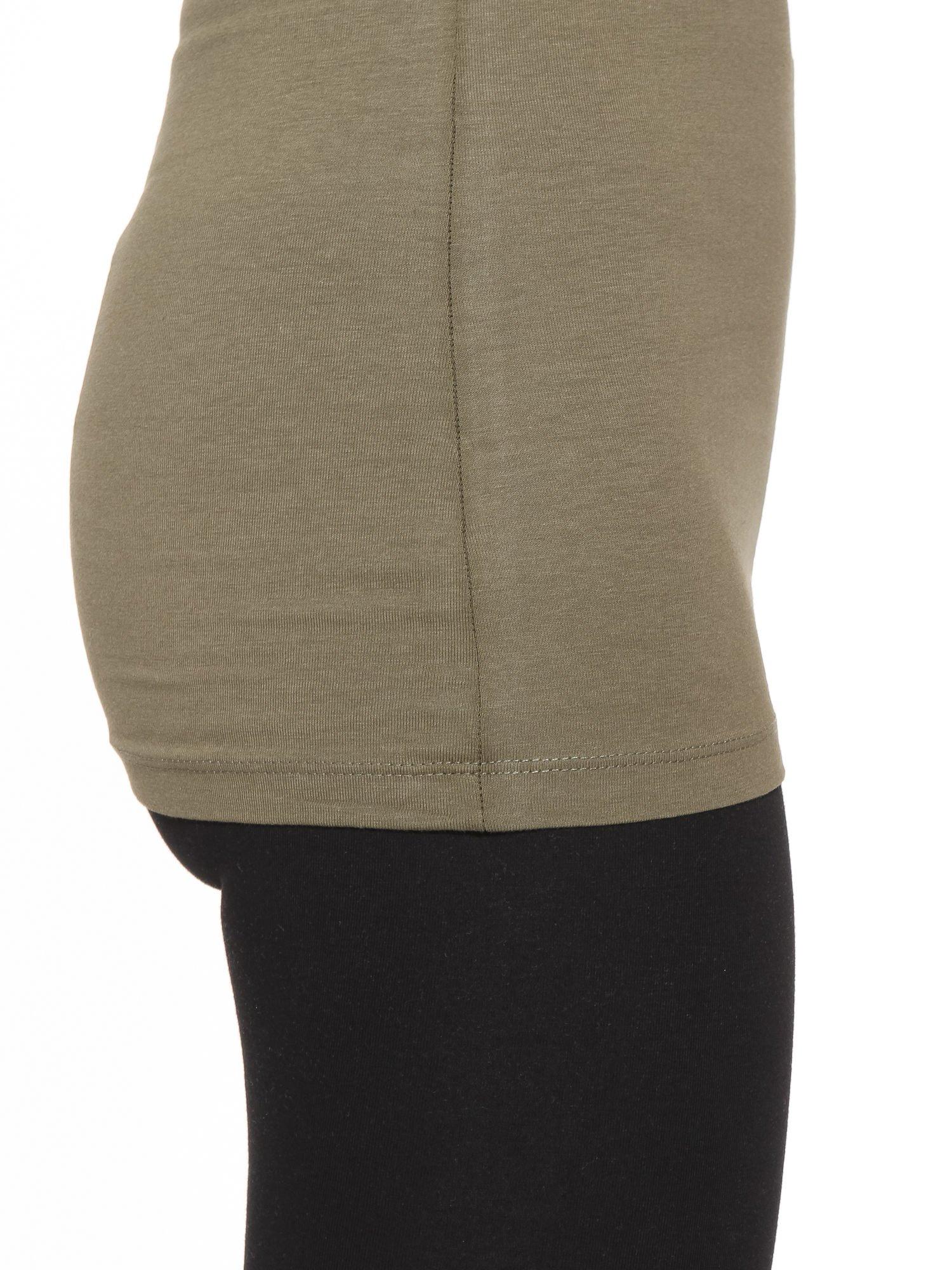 Khaki gładki top na szerokich ramiączkach                                  zdj.                                  8