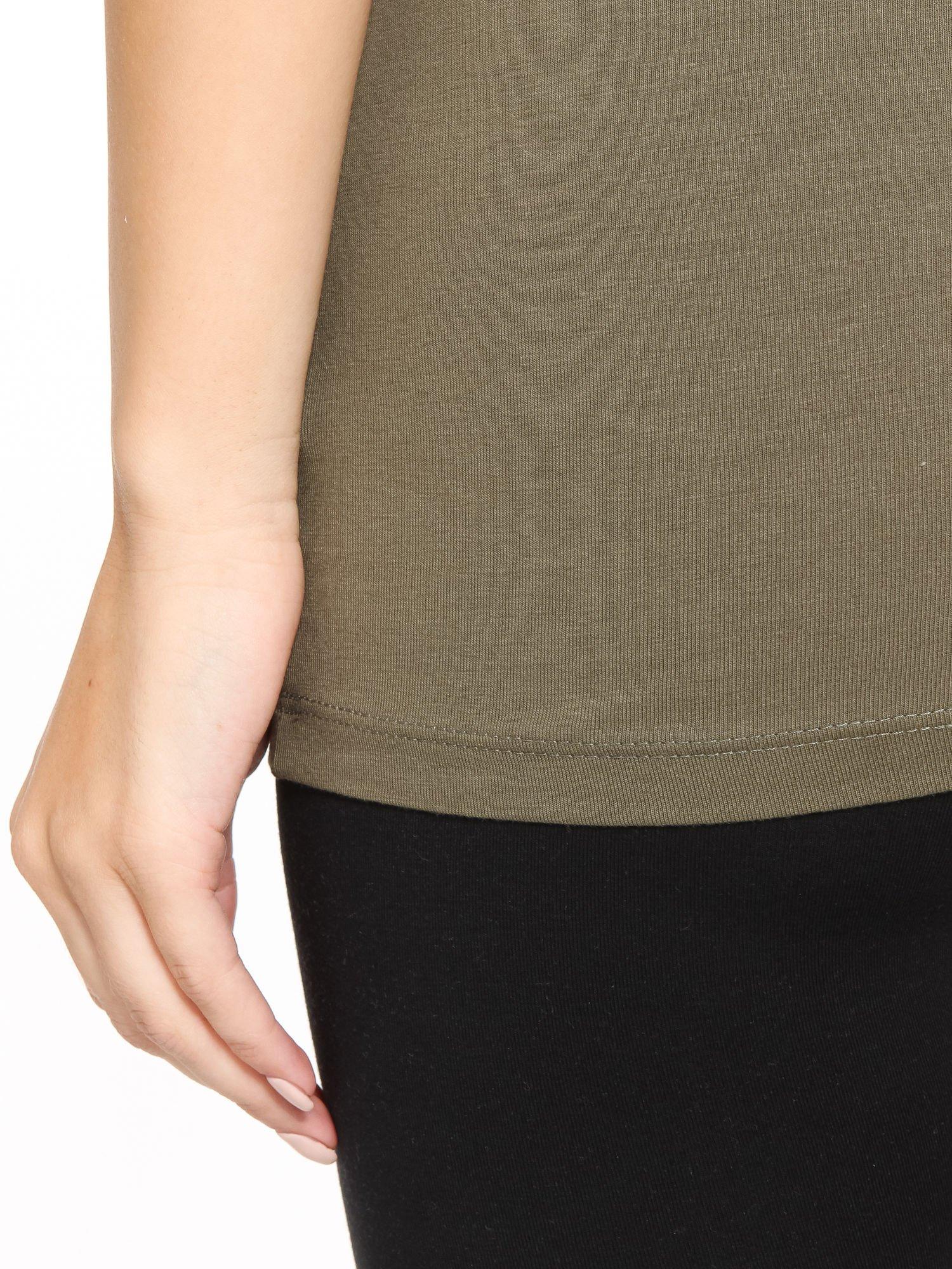 Khaki gładki top na szerokich ramiączkach                                  zdj.                                  10