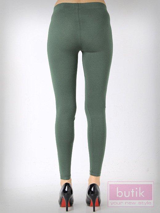 Khaki gładkie legginsy bawełniane                                  zdj.                                  3