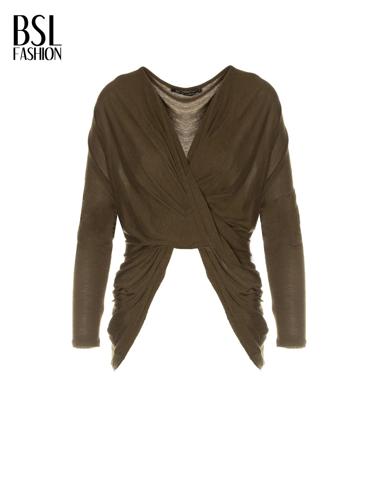 Khaki kopertowa bluzka z drapowaniem                                  zdj.                                  5