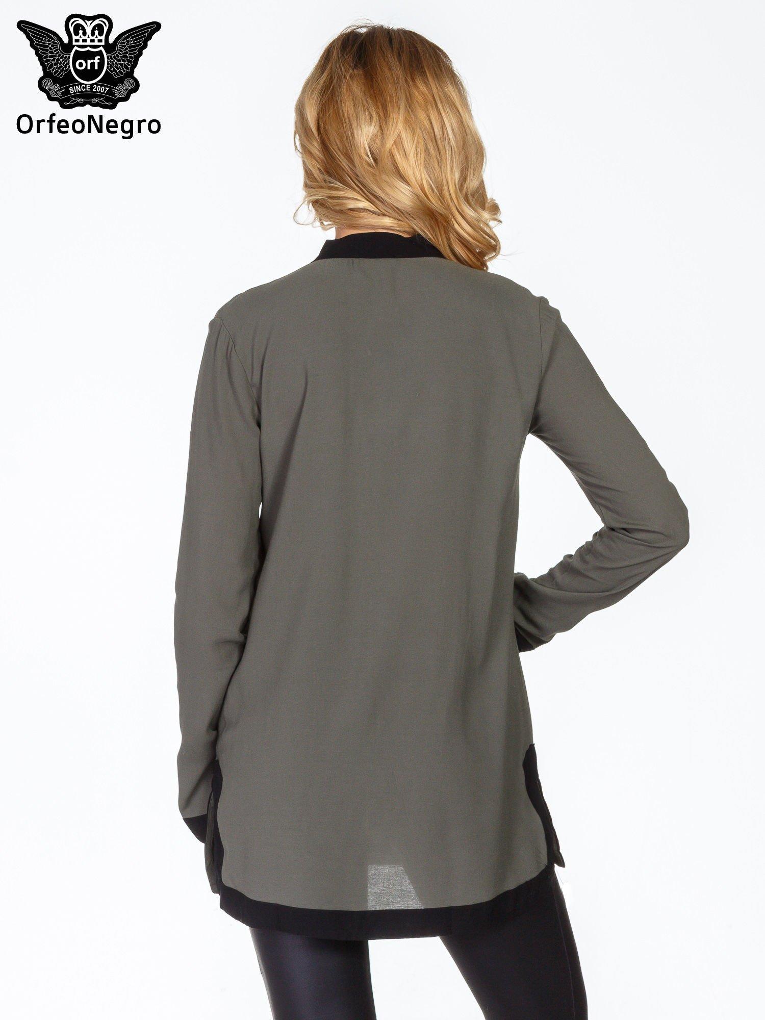 Khaki koszula z kontrastowym mankietem                                  zdj.                                  4
