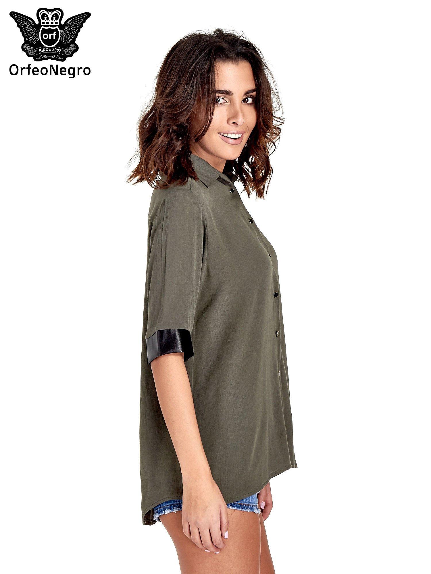 Khaki koszula ze skórzanymi mankietami                                  zdj.                                  3