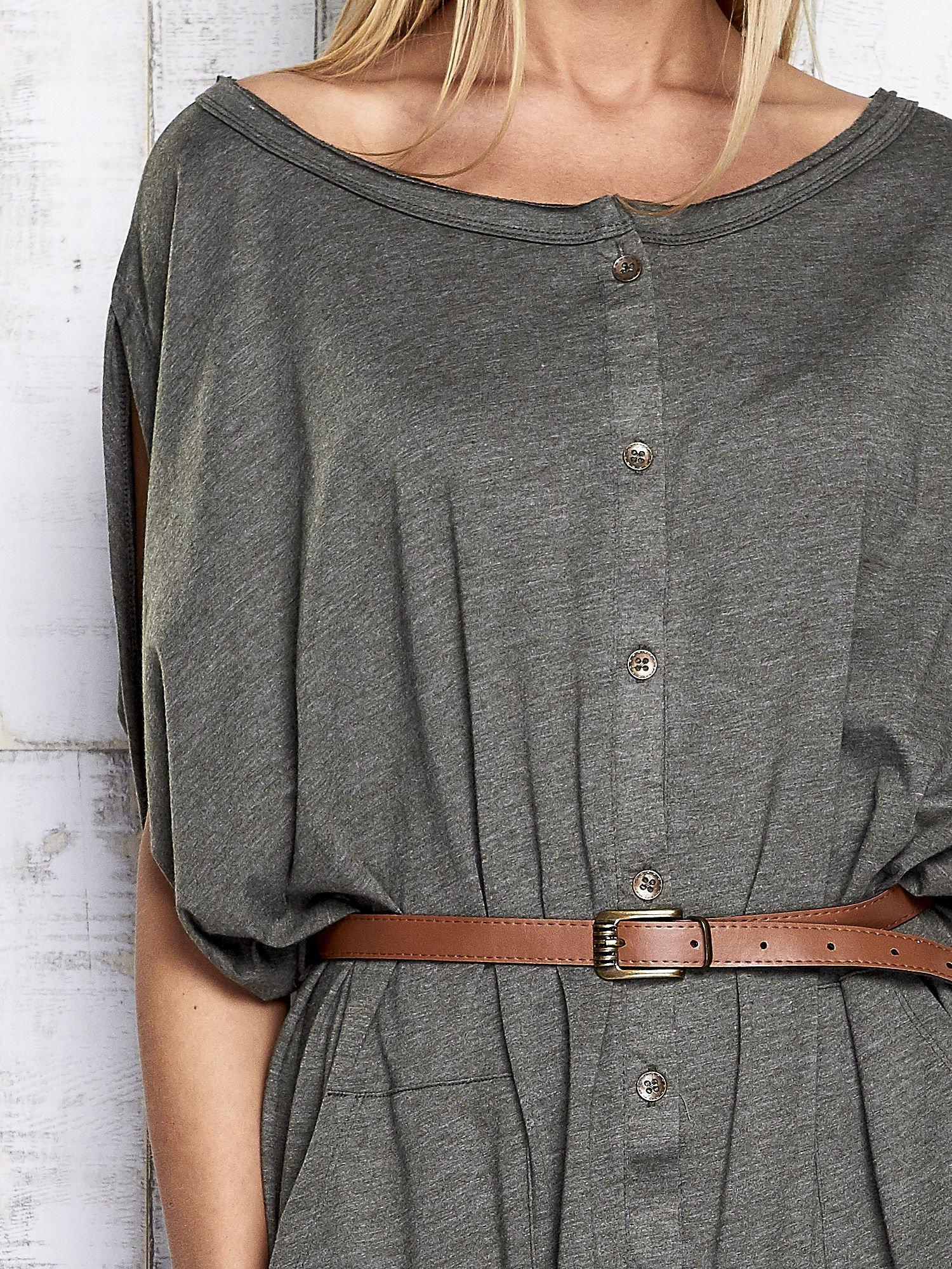 Khaki melanżowa sukienka oversize z guzikami                                  zdj.                                  6