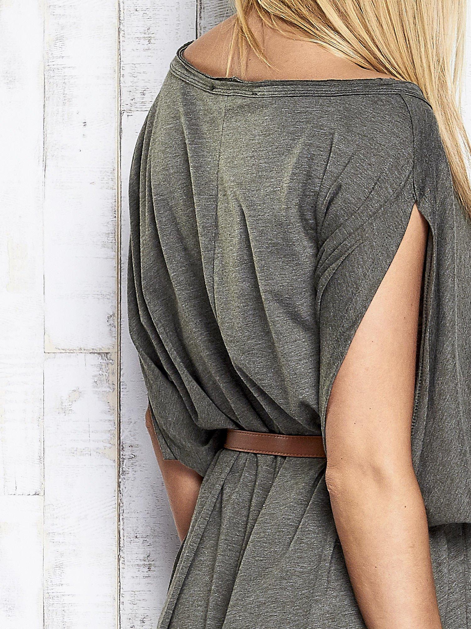 Khaki melanżowa sukienka oversize z guzikami                                  zdj.                                  7