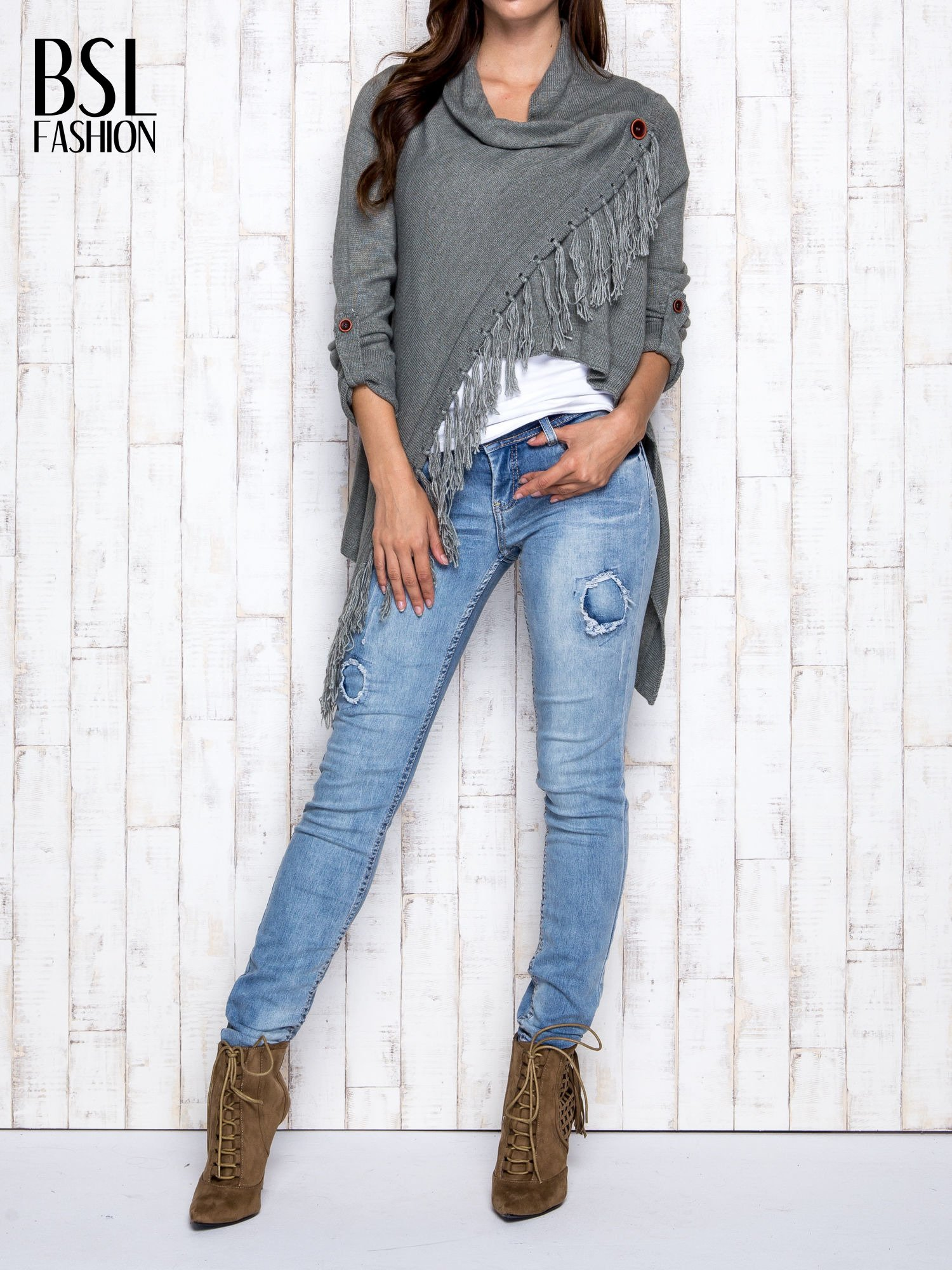 Khaki otwarty sweter z podwijanymi rękawami                                  zdj.                                  7