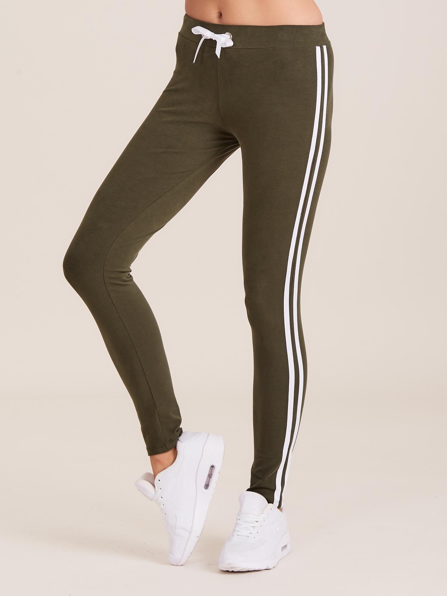 aa479a08fa17e8 Khaki spodnie dresowe damskie z lampasami - Spodnie Dresowe - sklep ...