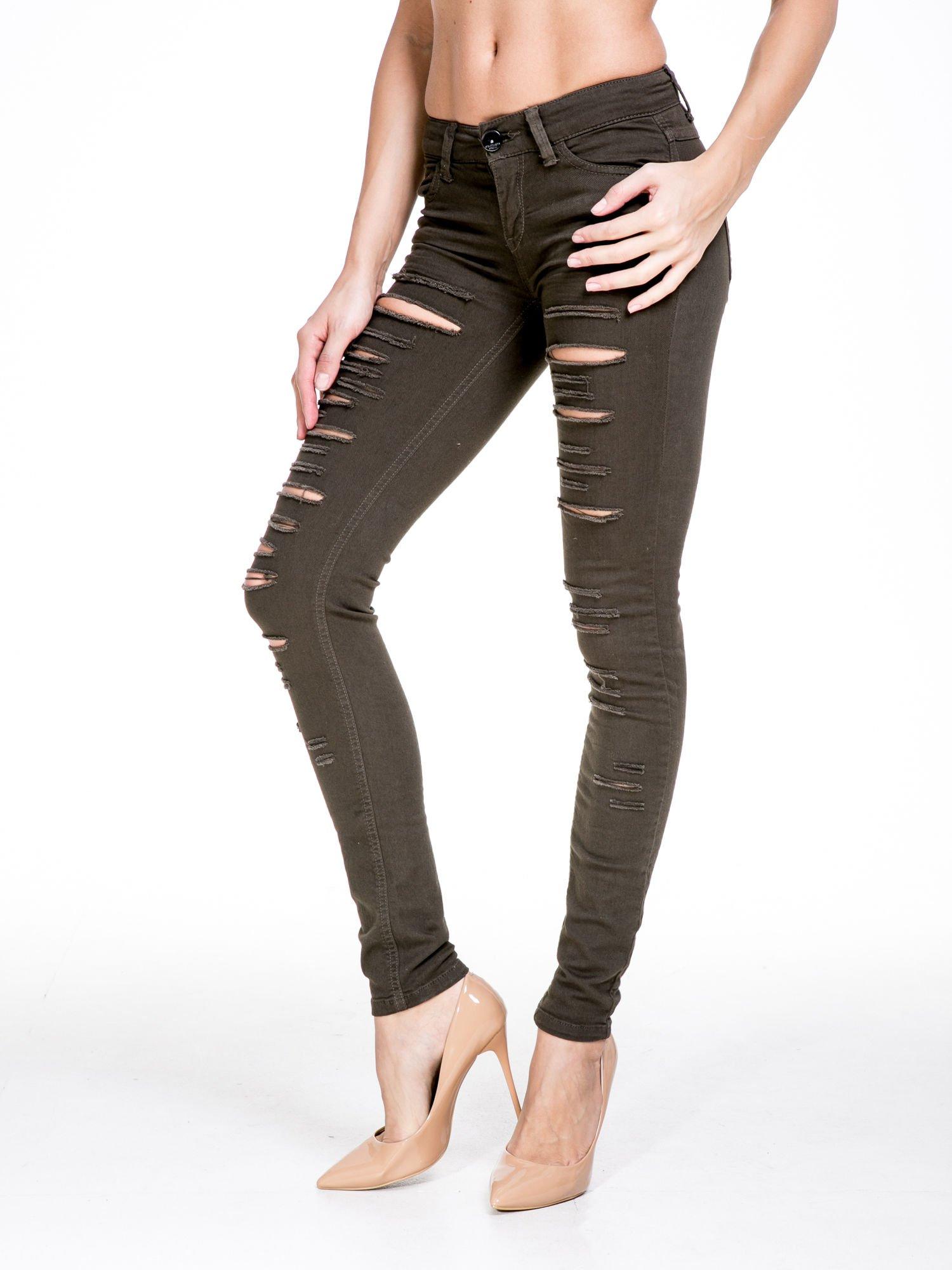 Khaki spodnie typu trash jeans                                  zdj.                                  1