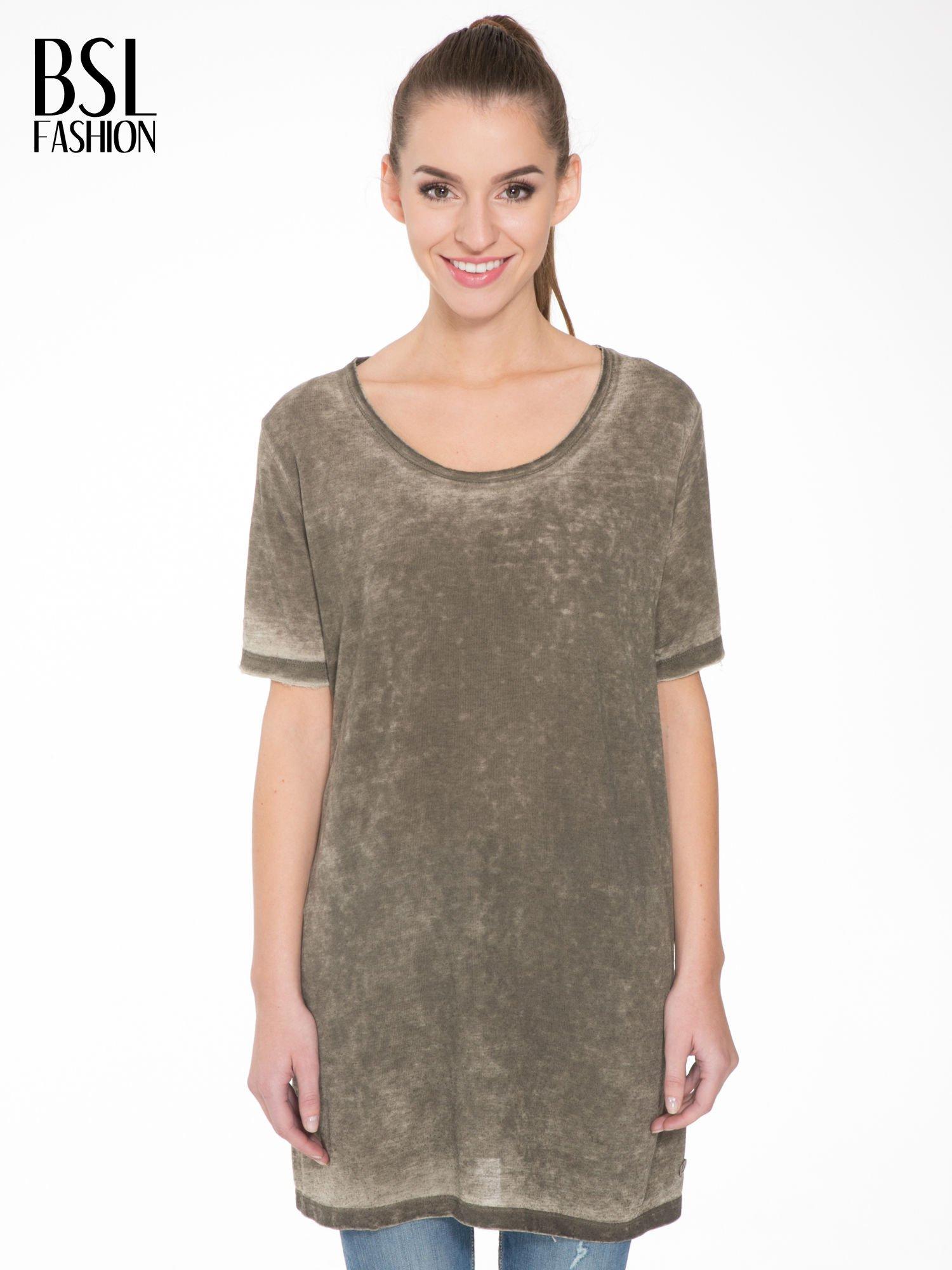 Khaki sukienka typu t-shirt bluzka z efektem dekatyzowania                                  zdj.                                  1