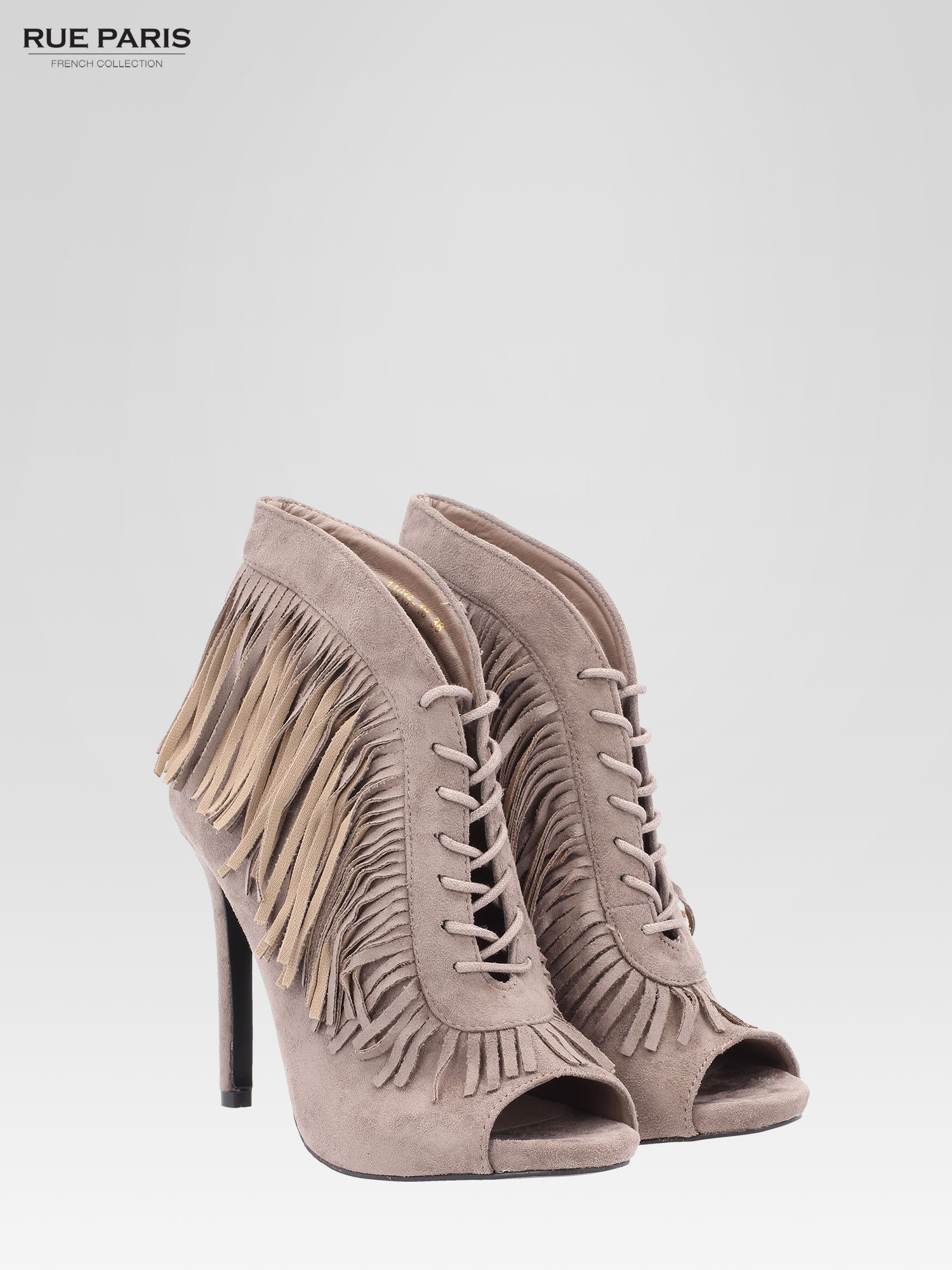 Khaki sznurowane botki faux suede Lea open toe z frędzlami                                  zdj.                                  2