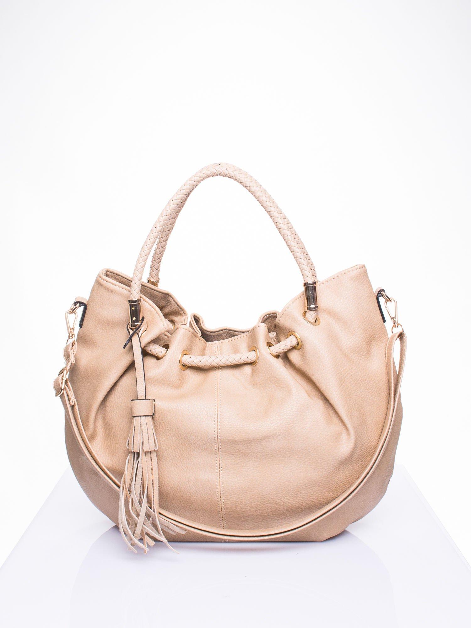 Khaki torebka z plecionymi uchwytami i frędzlami                                  zdj.                                  1