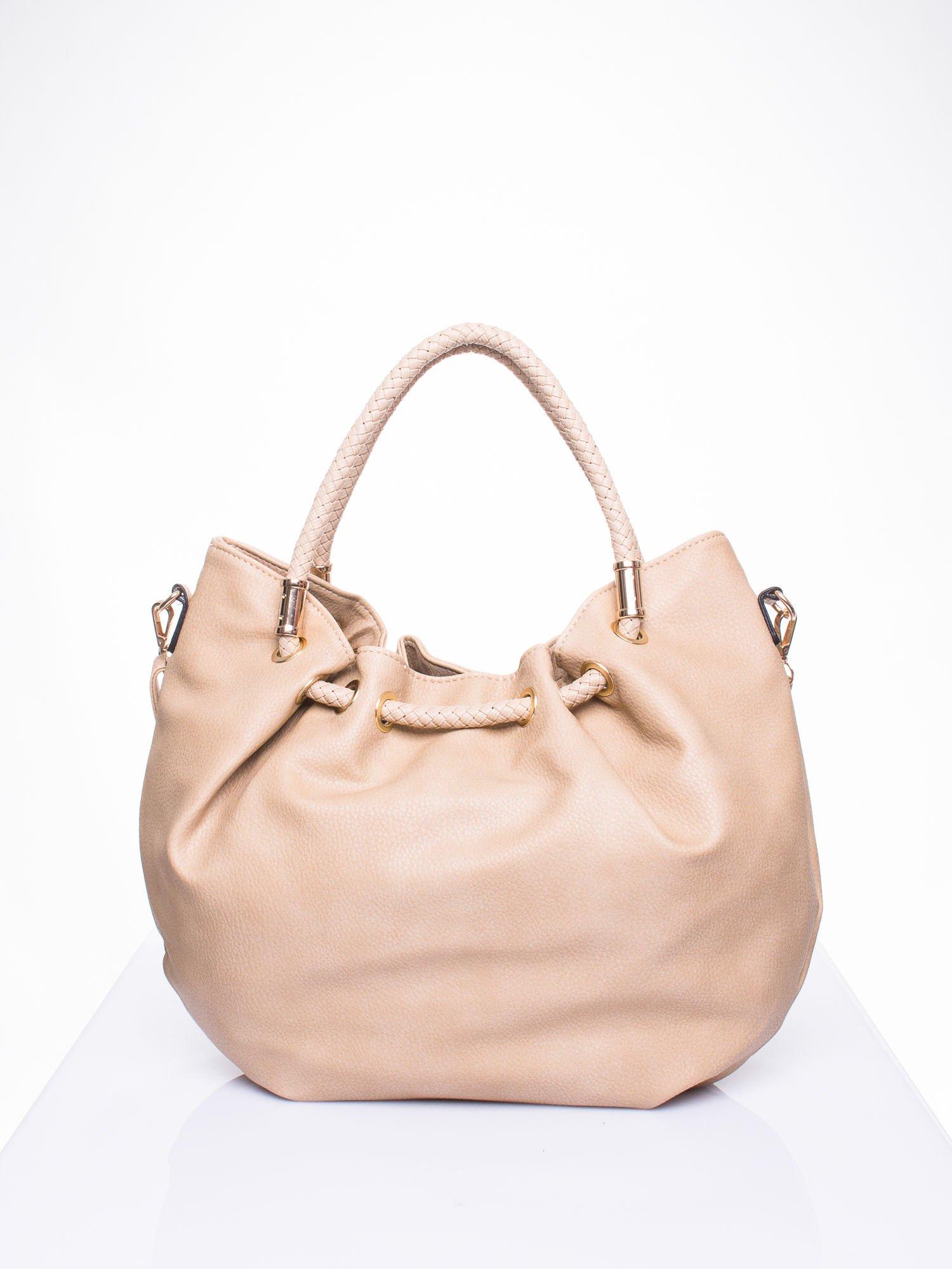 Khaki torebka z plecionymi uchwytami i frędzlami                                  zdj.                                  3