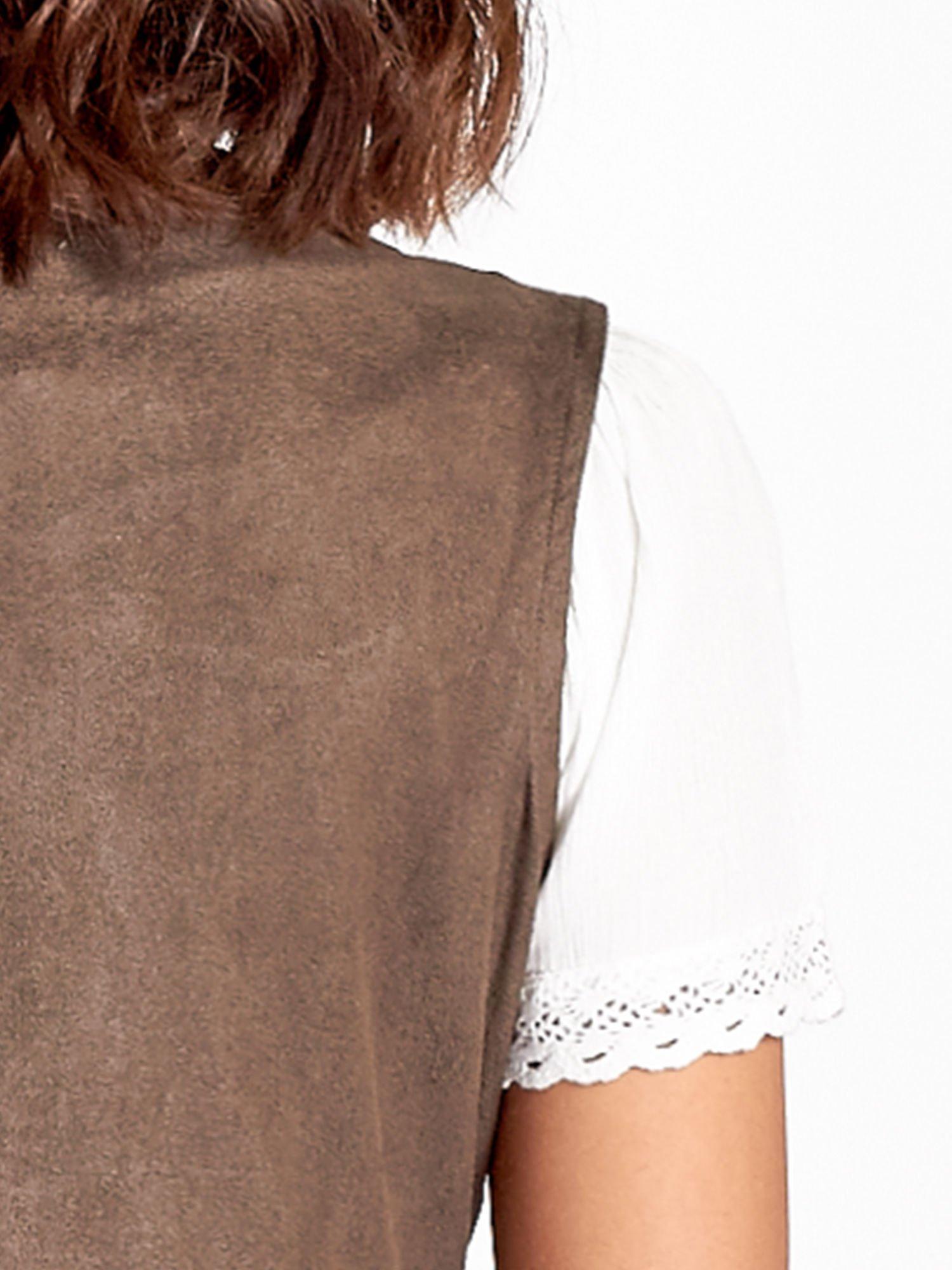 Khaki zamszowa kamizelka z wiązaniem                                  zdj.                                  5