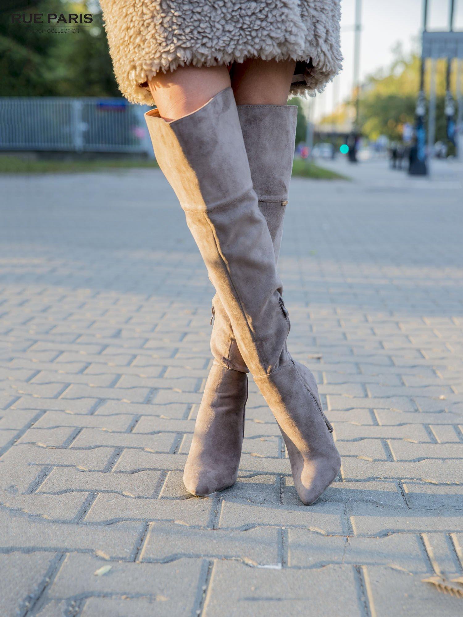 Khaki zamszowe kozaki faux suede na szpilkach za kolano                                  zdj.                                  2