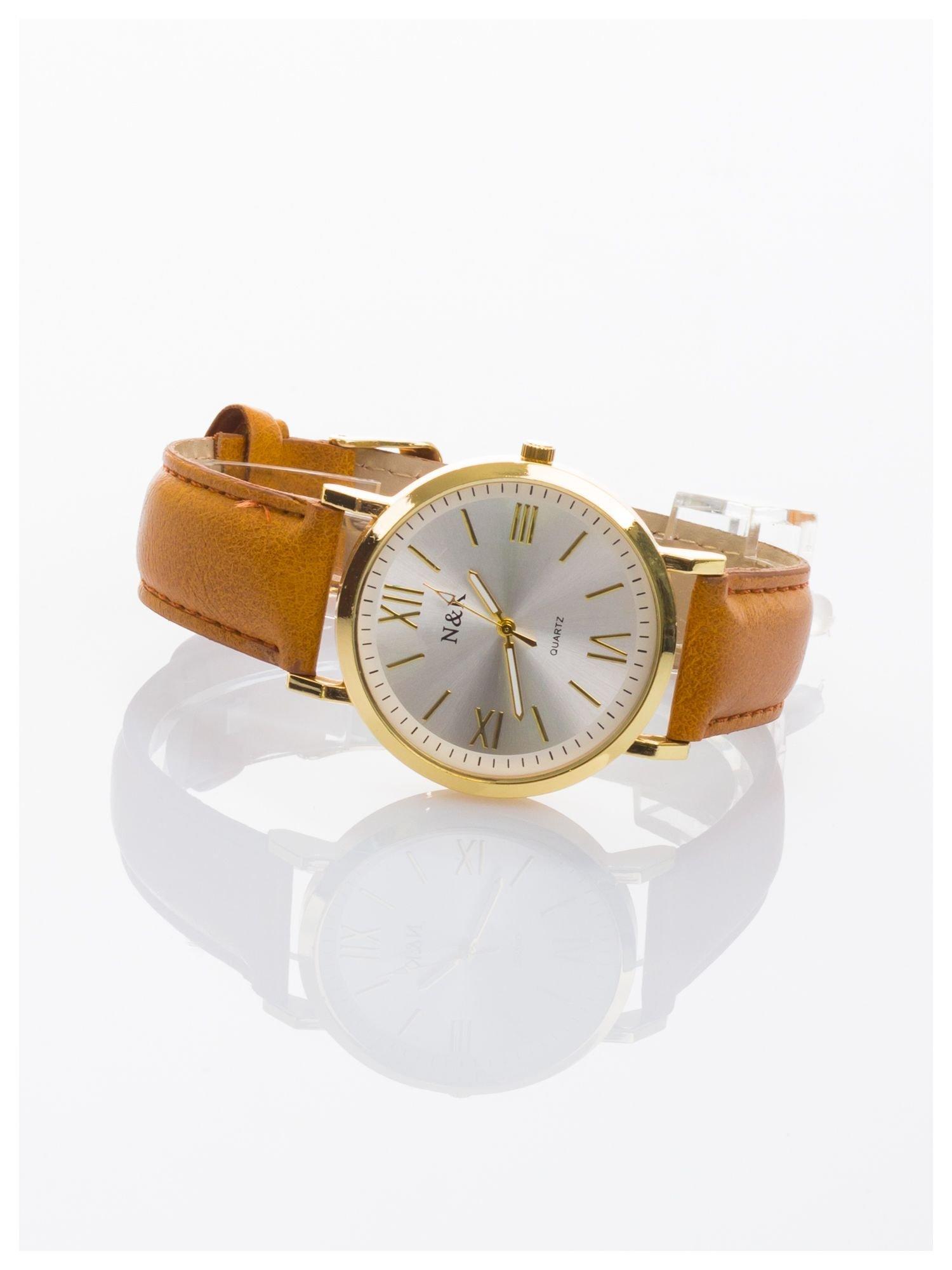 Klasyczny damski zegarek. Elegancki i czytelny cyferblat. Brązowy skórzany pasek                                  zdj.                                  2