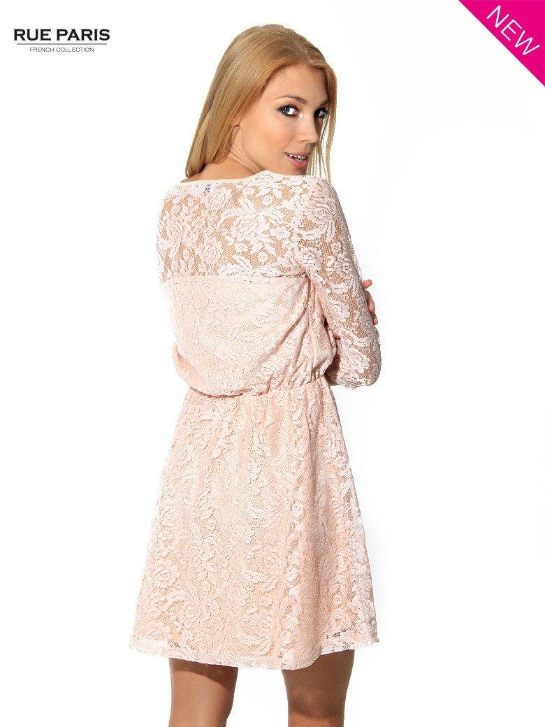 Kloszowana sukienka pokryta na górze przezroczystą koronką w kolorze łososiowym                                  zdj.                                  4
