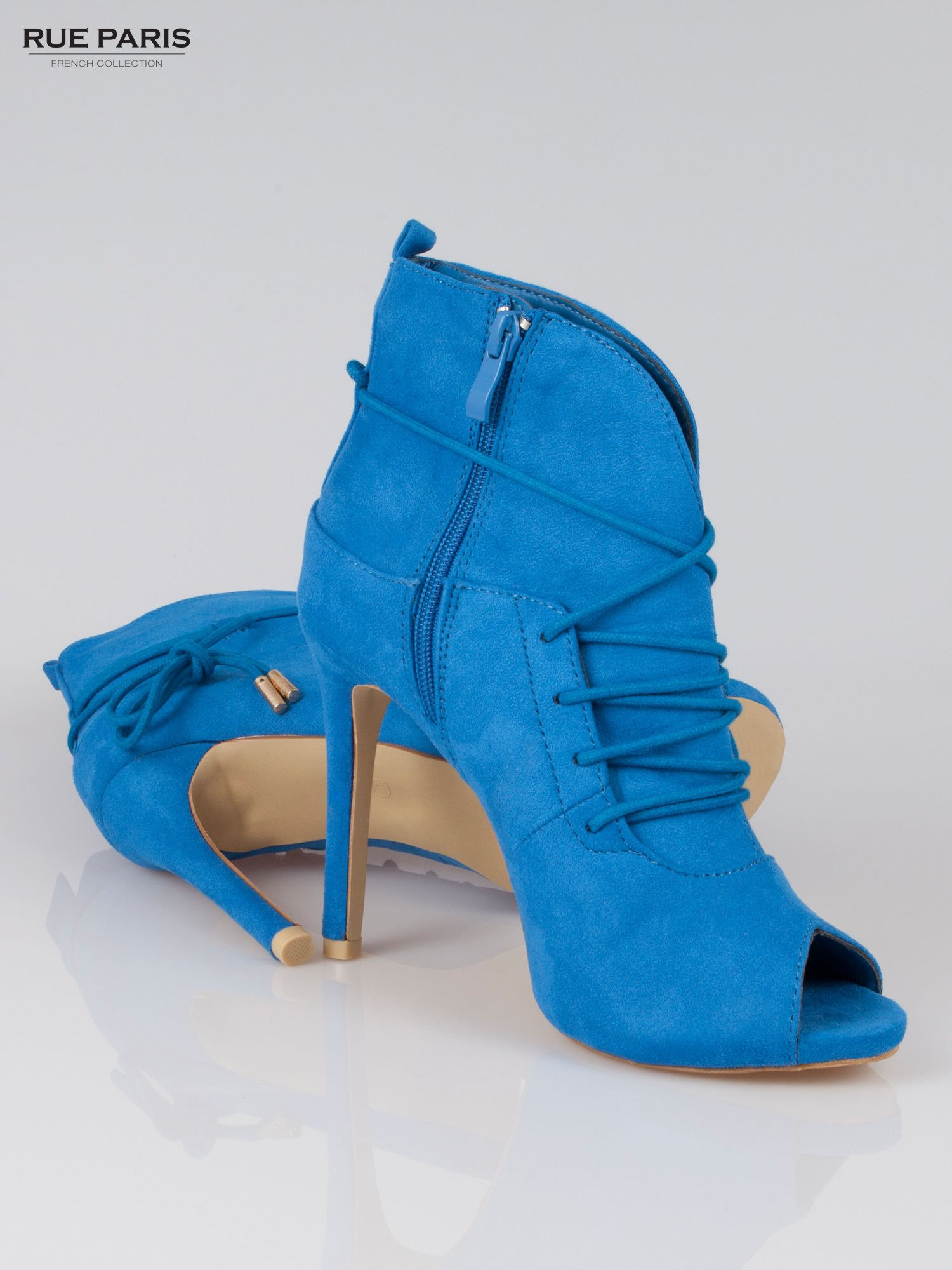 Kobaltowe wiązane botki faux suede Elsa lace up                                  zdj.                                  4