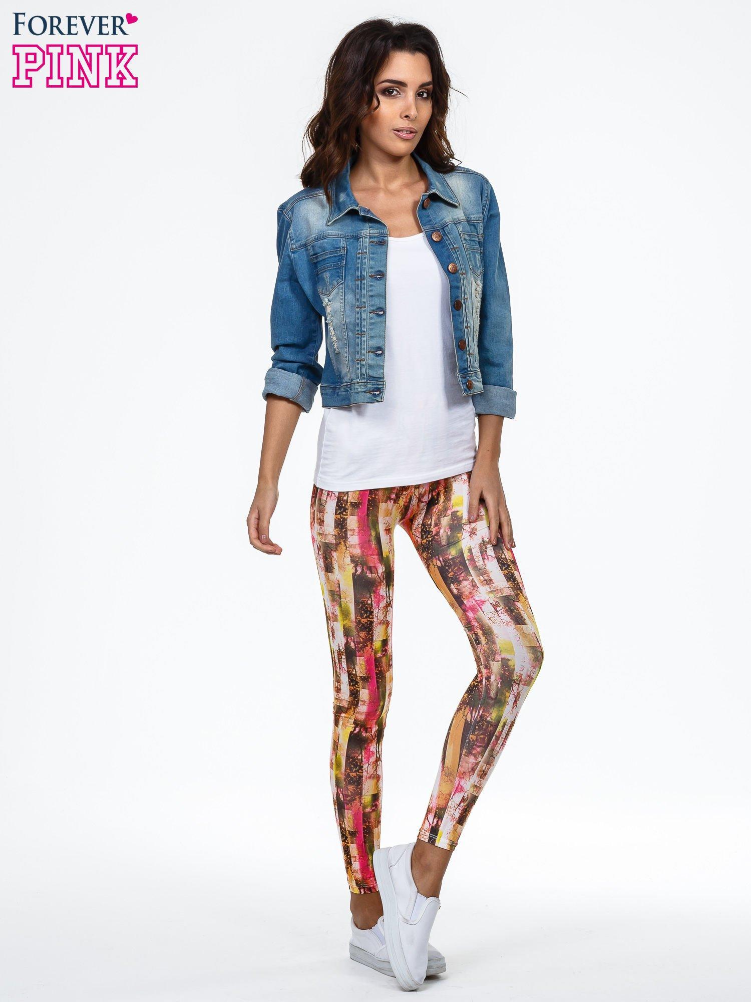 Kolorowe legginsy z graficznym nadrukiem                                  zdj.                                  2
