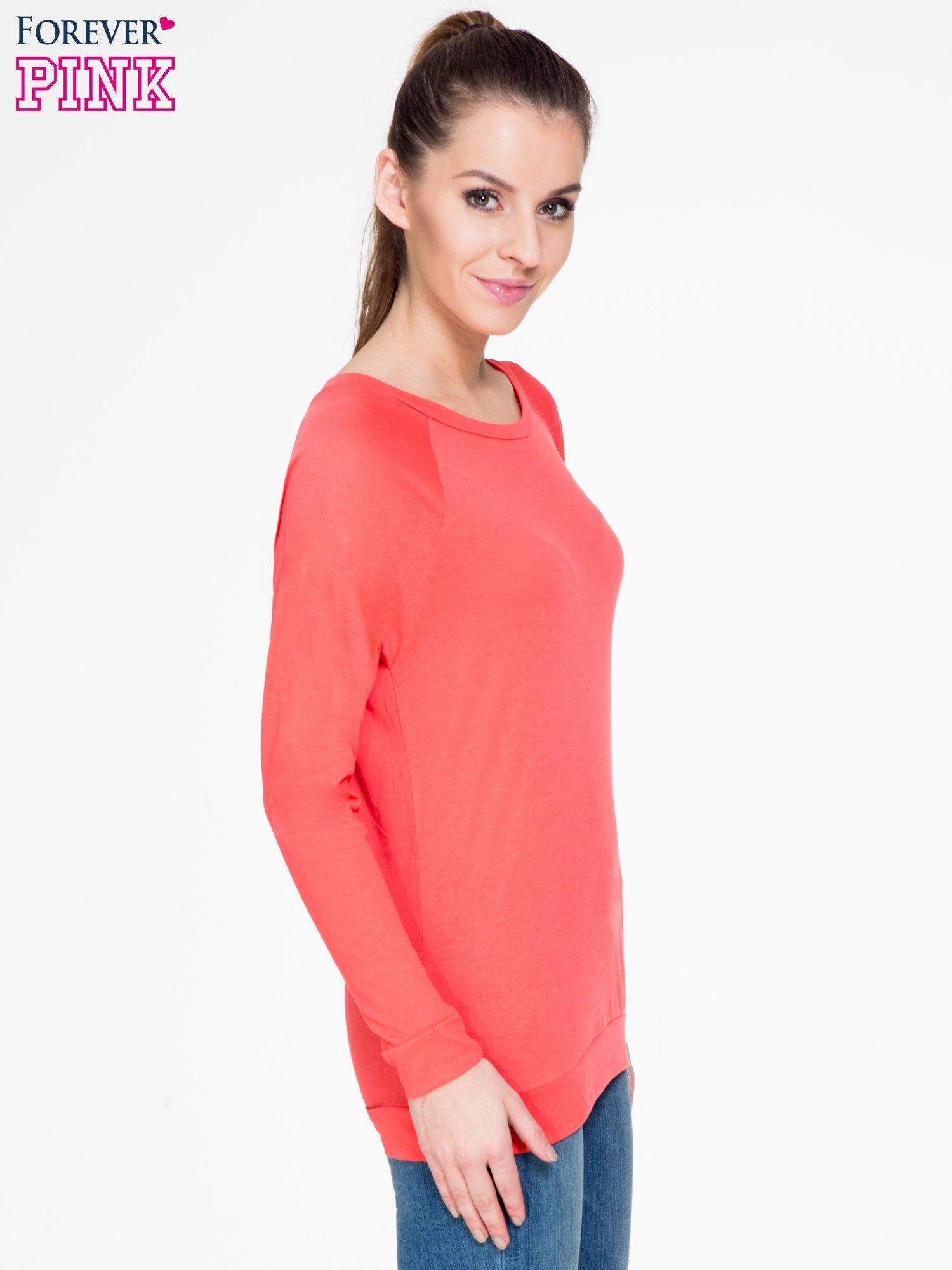 Koralowa bawełniana bluzka z rękawami typu reglan                                  zdj.                                  3
