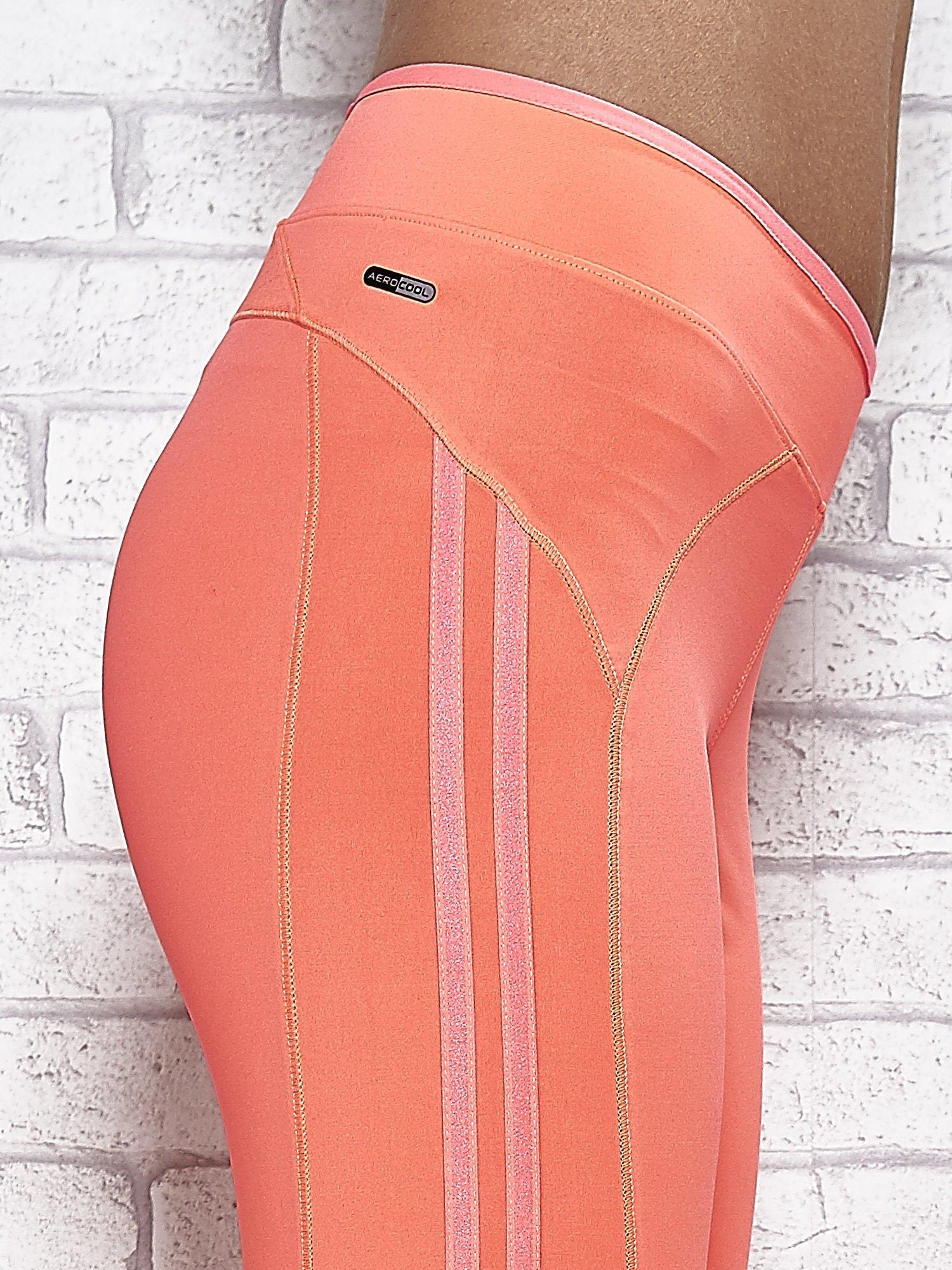Koralowe legginsy 3/4 sportowe termalne z lampasami                                  zdj.                                  5