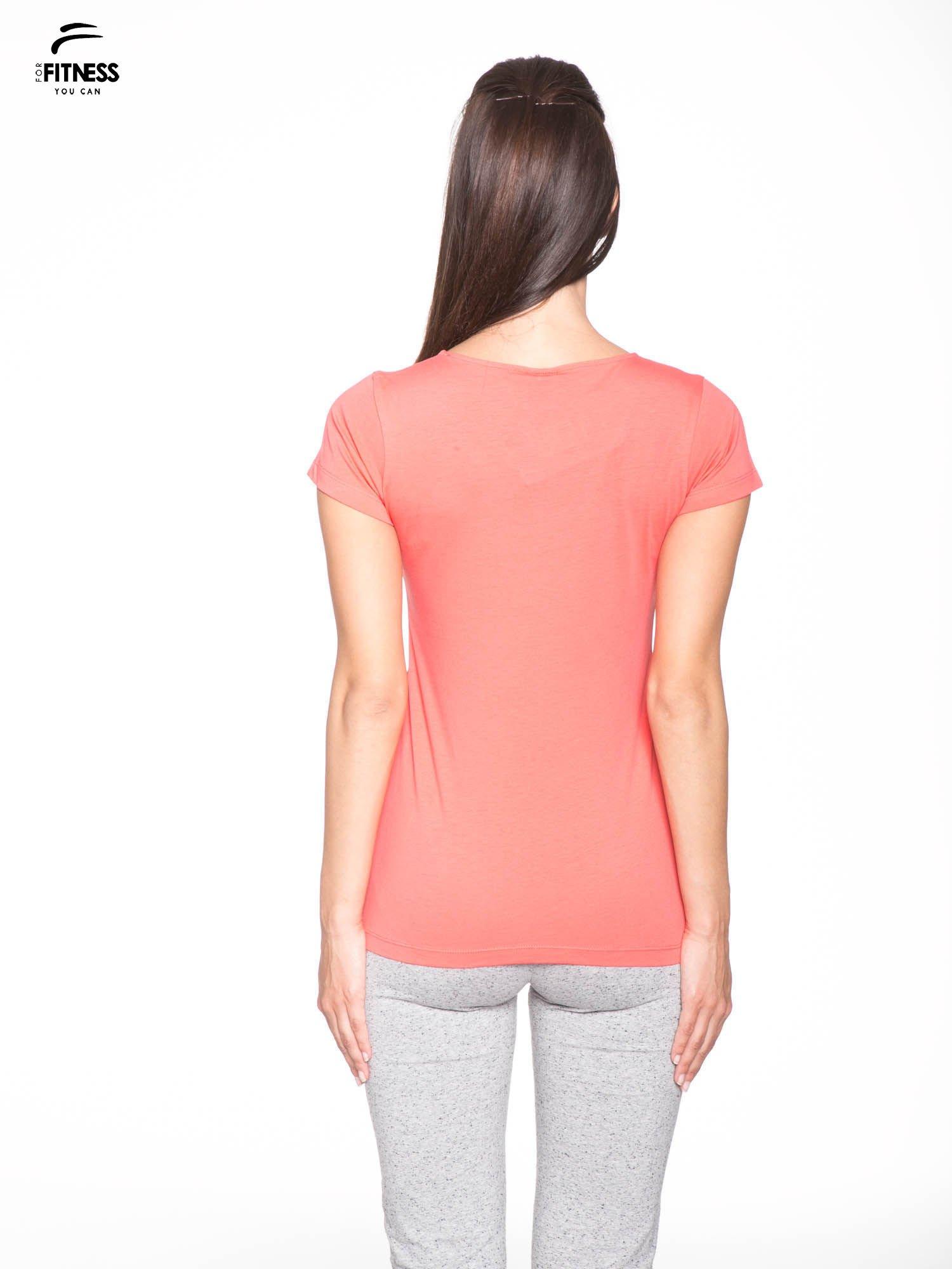Koralowy bawełniany t-shirt damski typu basic                                  zdj.                                  4