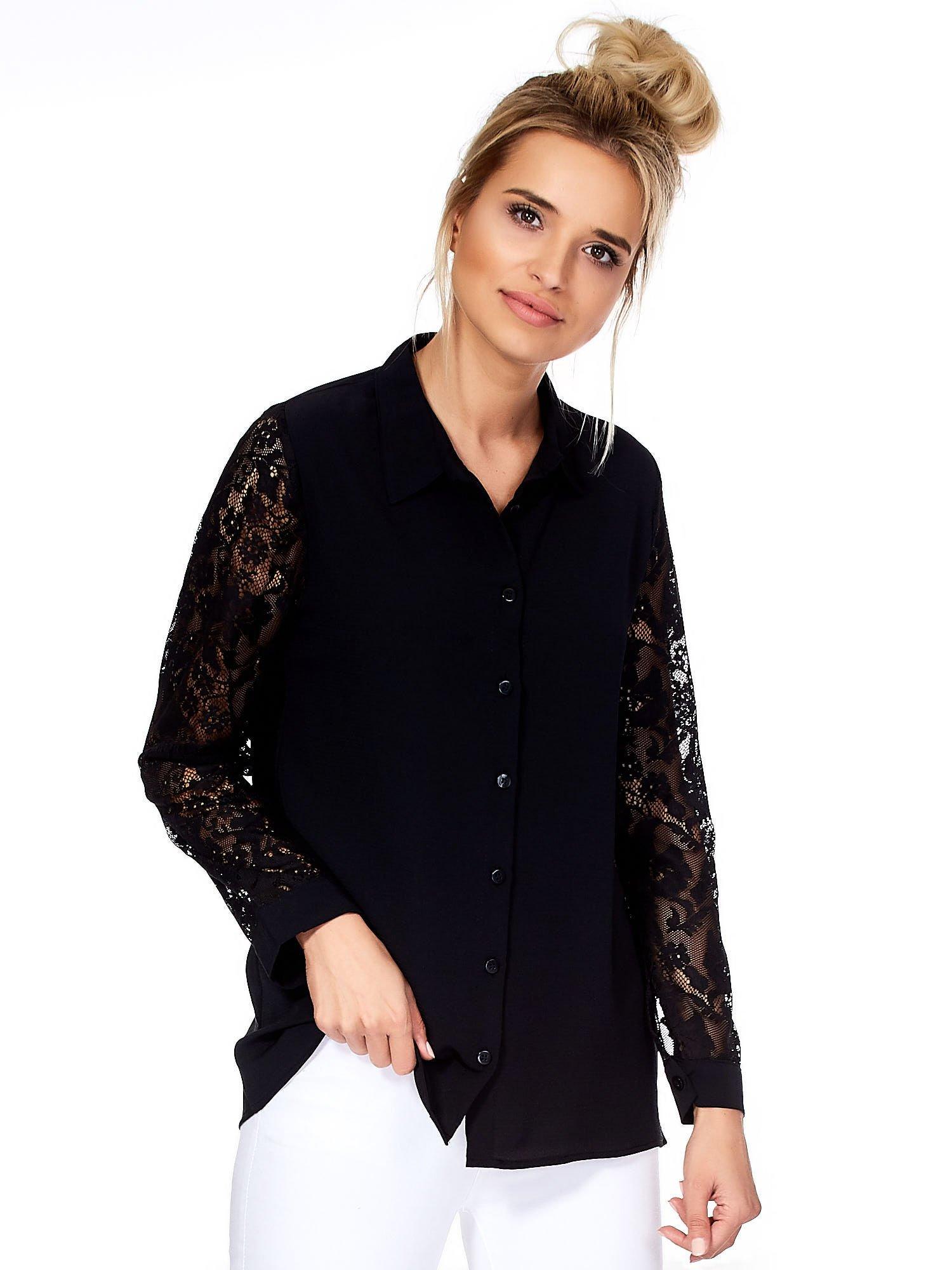 0c6c5d9afaeca1 Koszula damska czarna z ażurowymi rękawami - Koszula z koronką ...