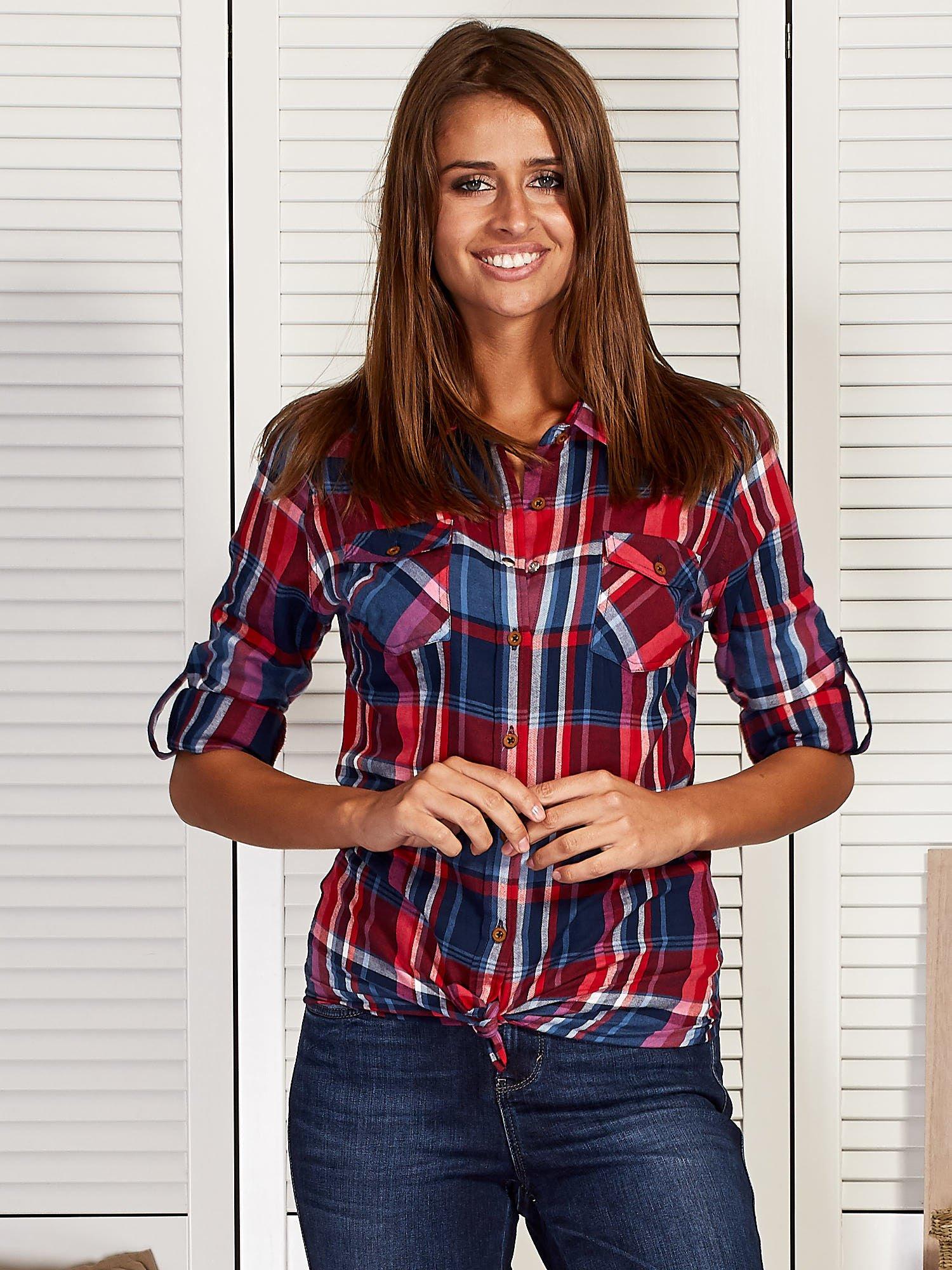 0dbfd666a9f098 Koszula damska w kolorową kratkę czerwona - Koszula w kratę - sklep ...