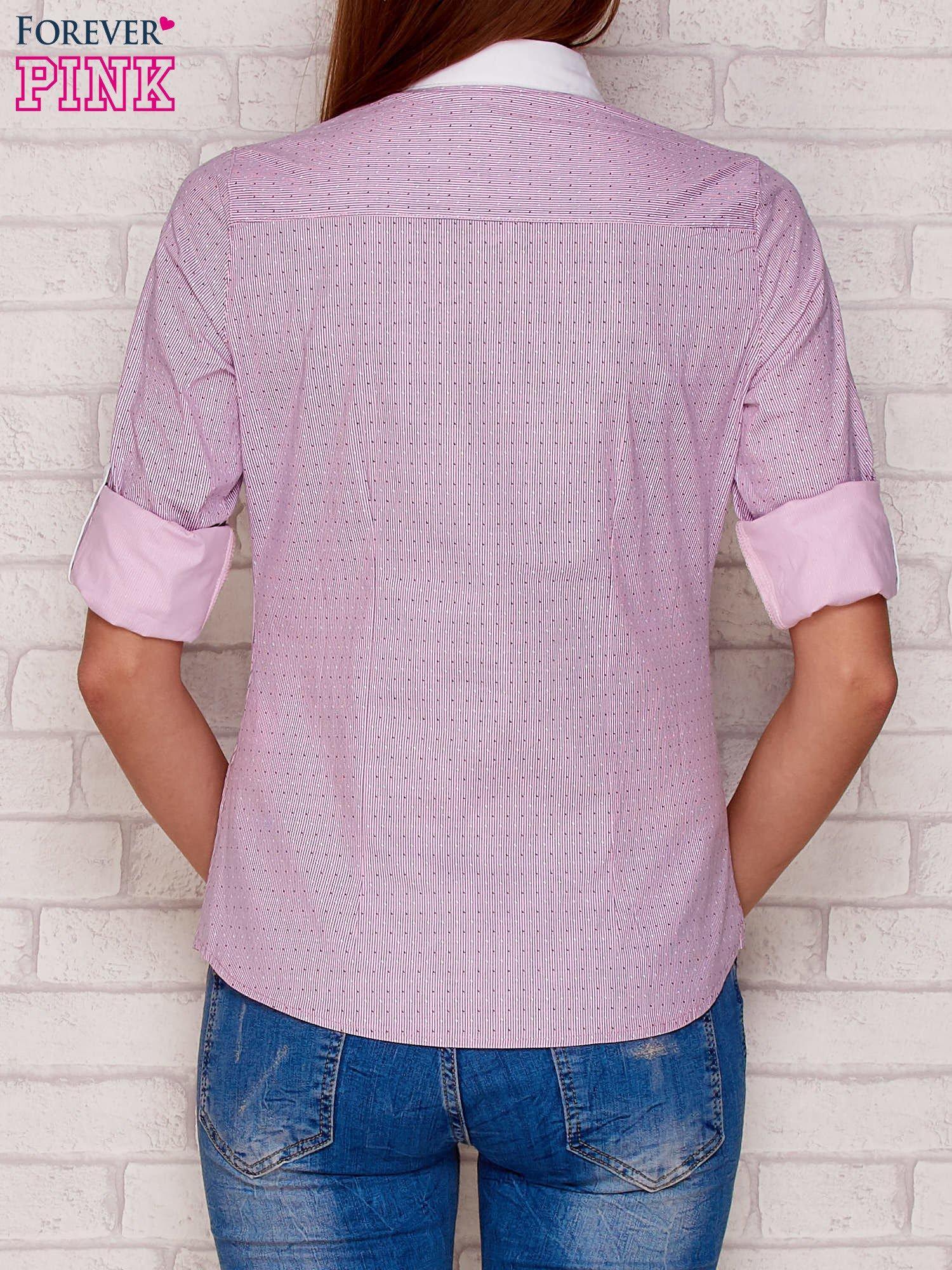 Koszula damska w paski i drobny wzór jasnofioletowa
