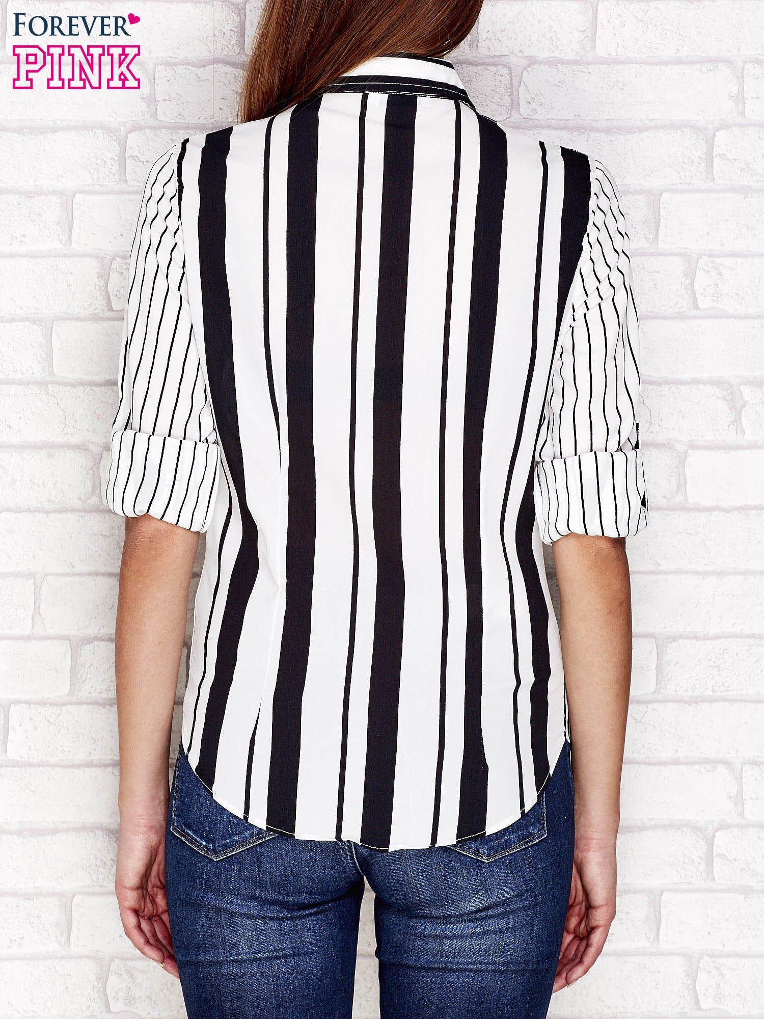 Koszula damska w pionowe paski czarna