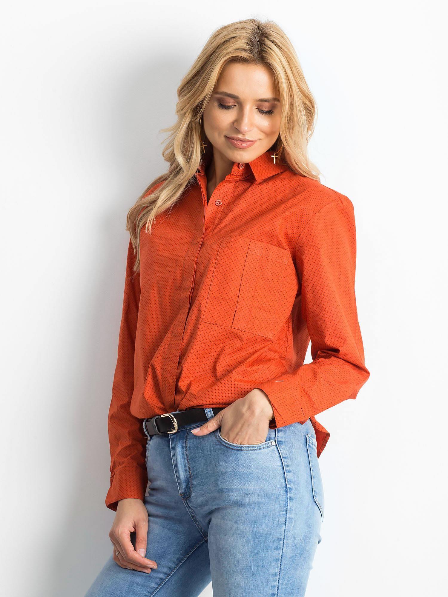 Koszula w kropki pomarańczowa