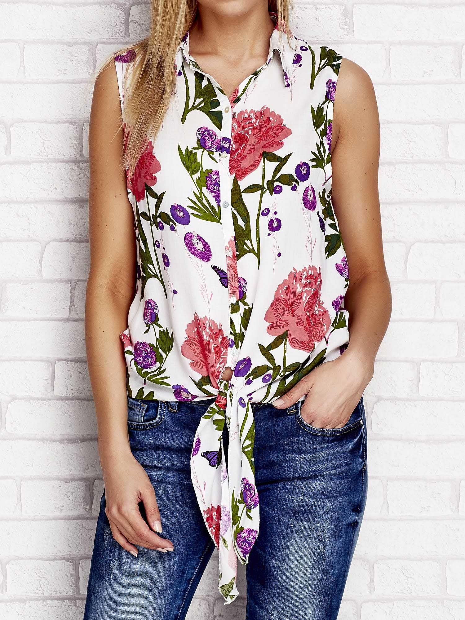 f73124c22fd4 Koszula w kwiaty z wiązaniem biała - Koszula z nadrukiem - sklep ...