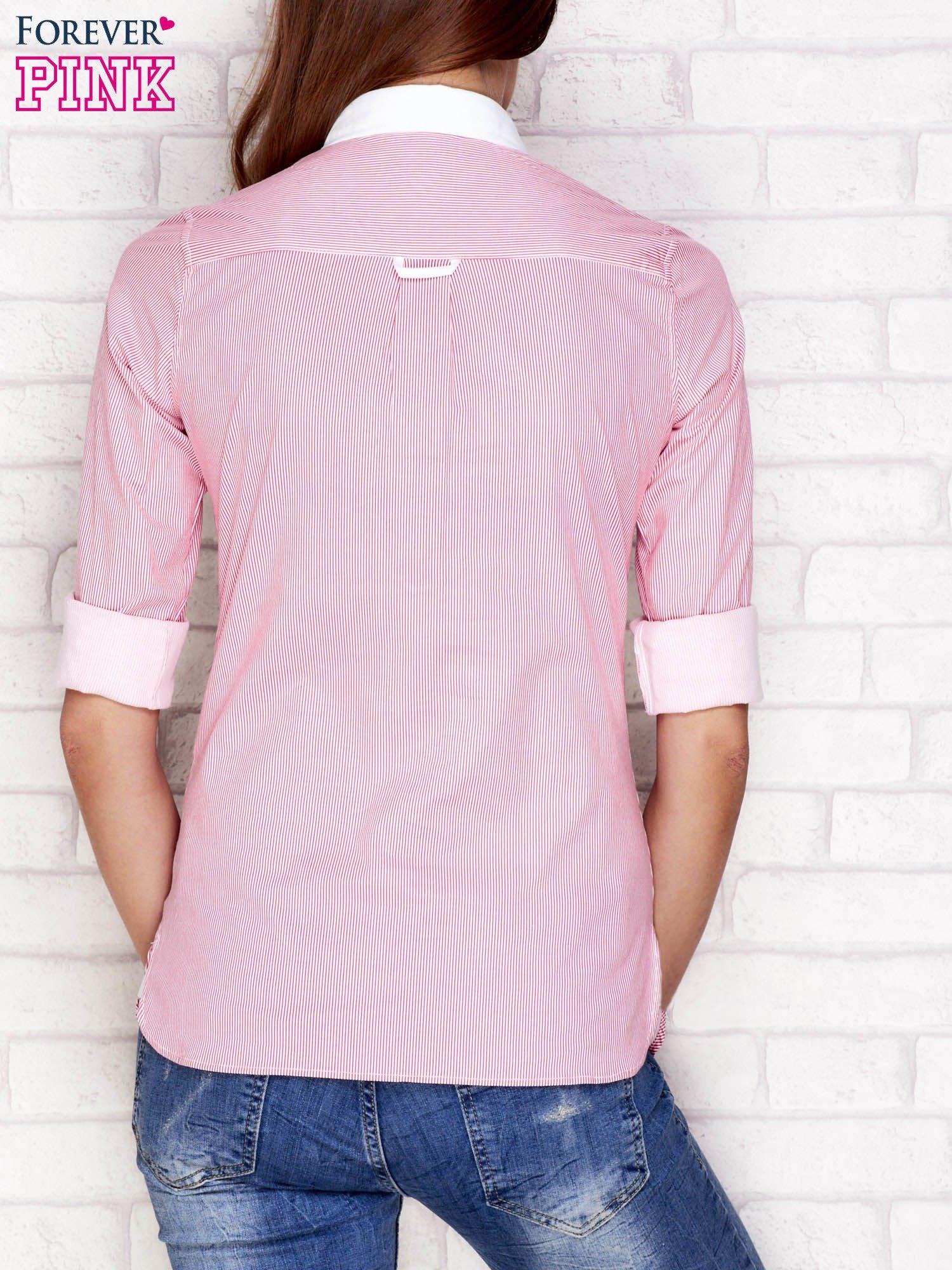 Koszula w prążki różowa