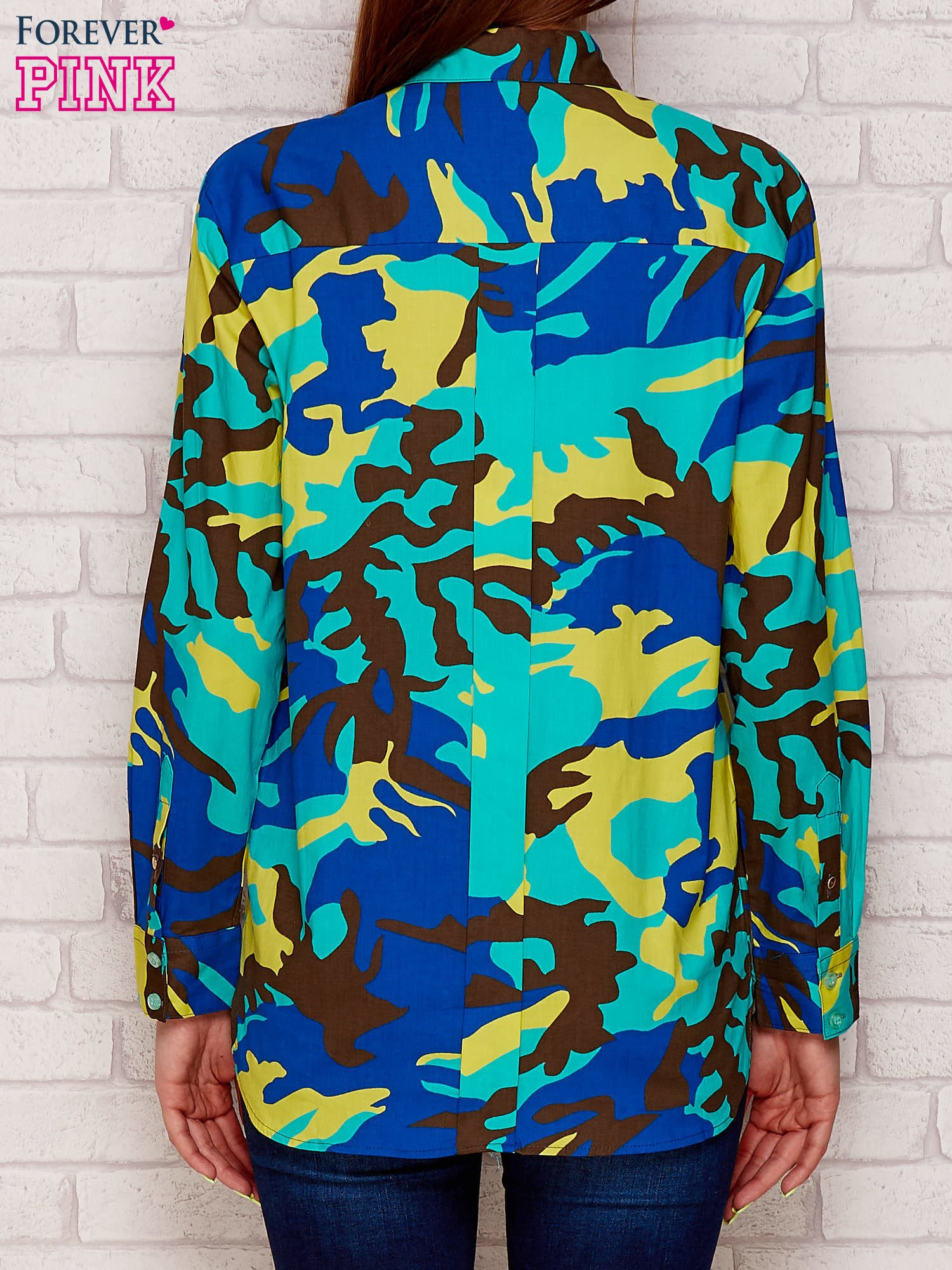 Koszula z motywem moro niebieska