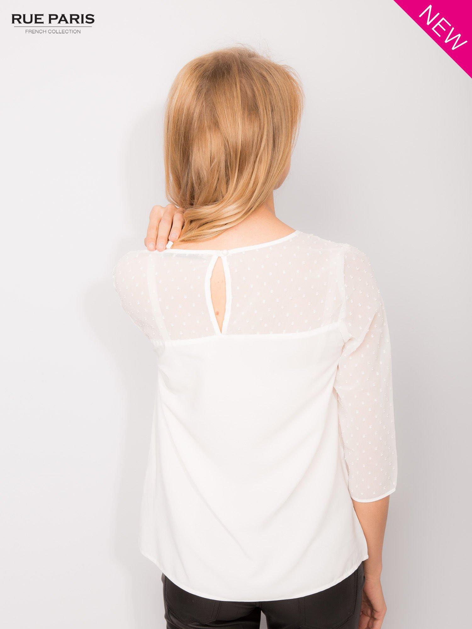 Koszula z przezroczystym materiałem w groszki w kolorze ecru                                  zdj.                                  2