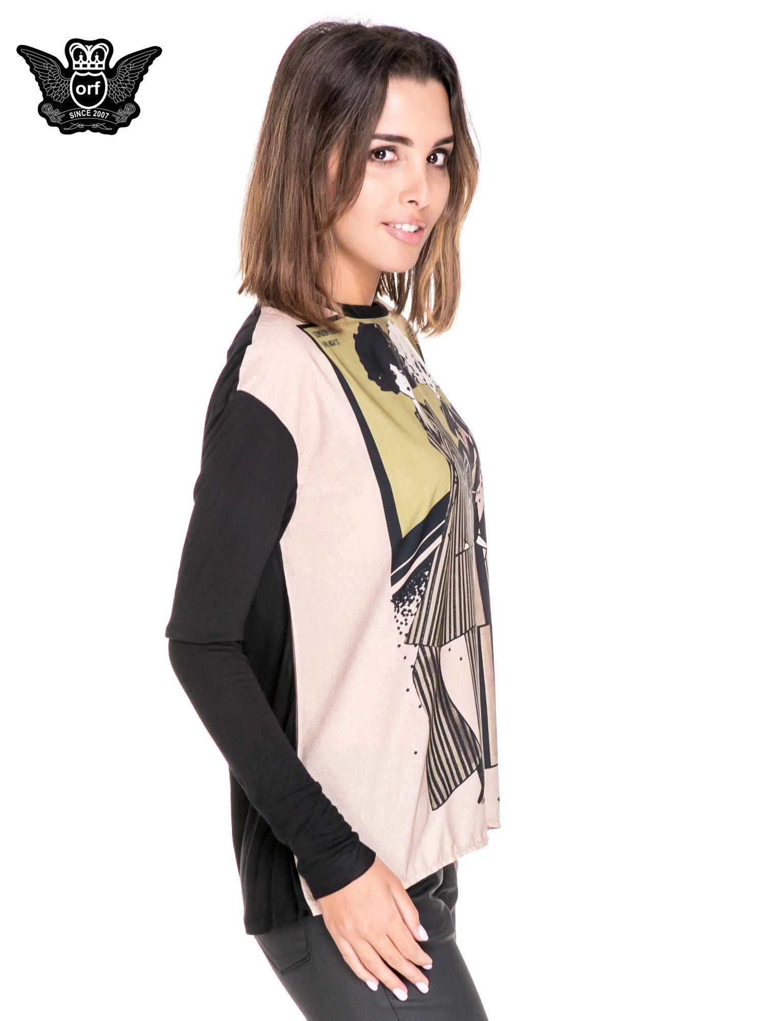 Koszula z satynowym przodem i nadrukiem kobiet                                  zdj.                                  3