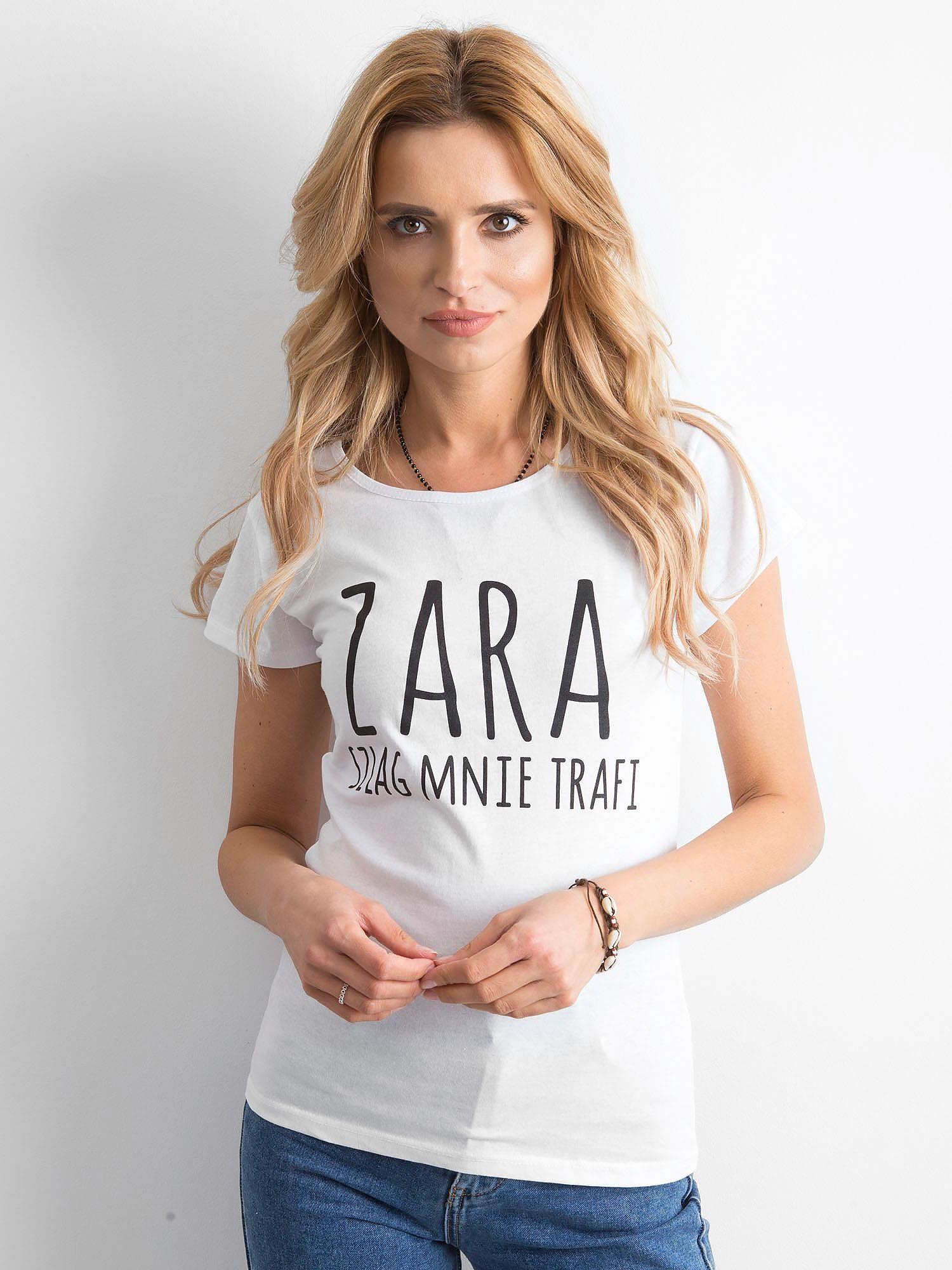 16c26c8ba9f2d6 Koszulka damska z napisem biała - T-shirt z nadrukiem - sklep eButik.pl