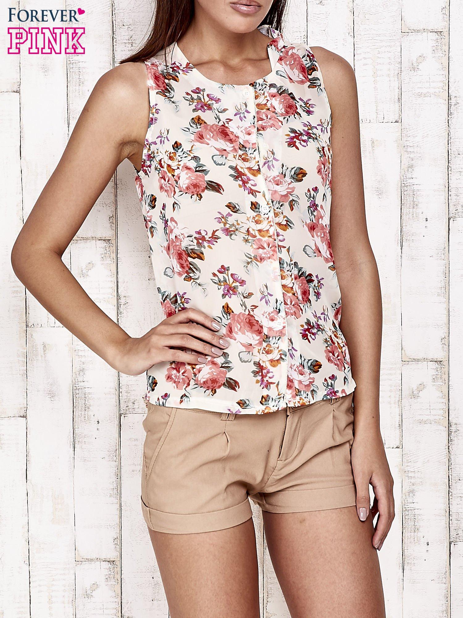 Kremowa bluzka koszulowa w róże                                  zdj.                                  2