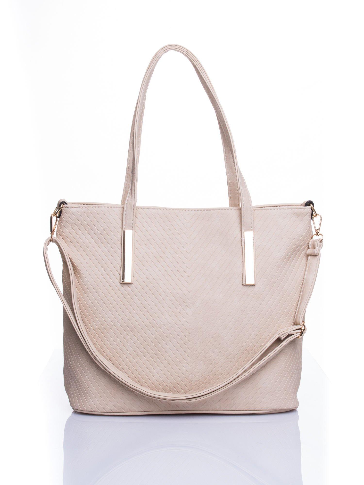 Kremowa fakturowana torba shopper bag                                  zdj.                                  1