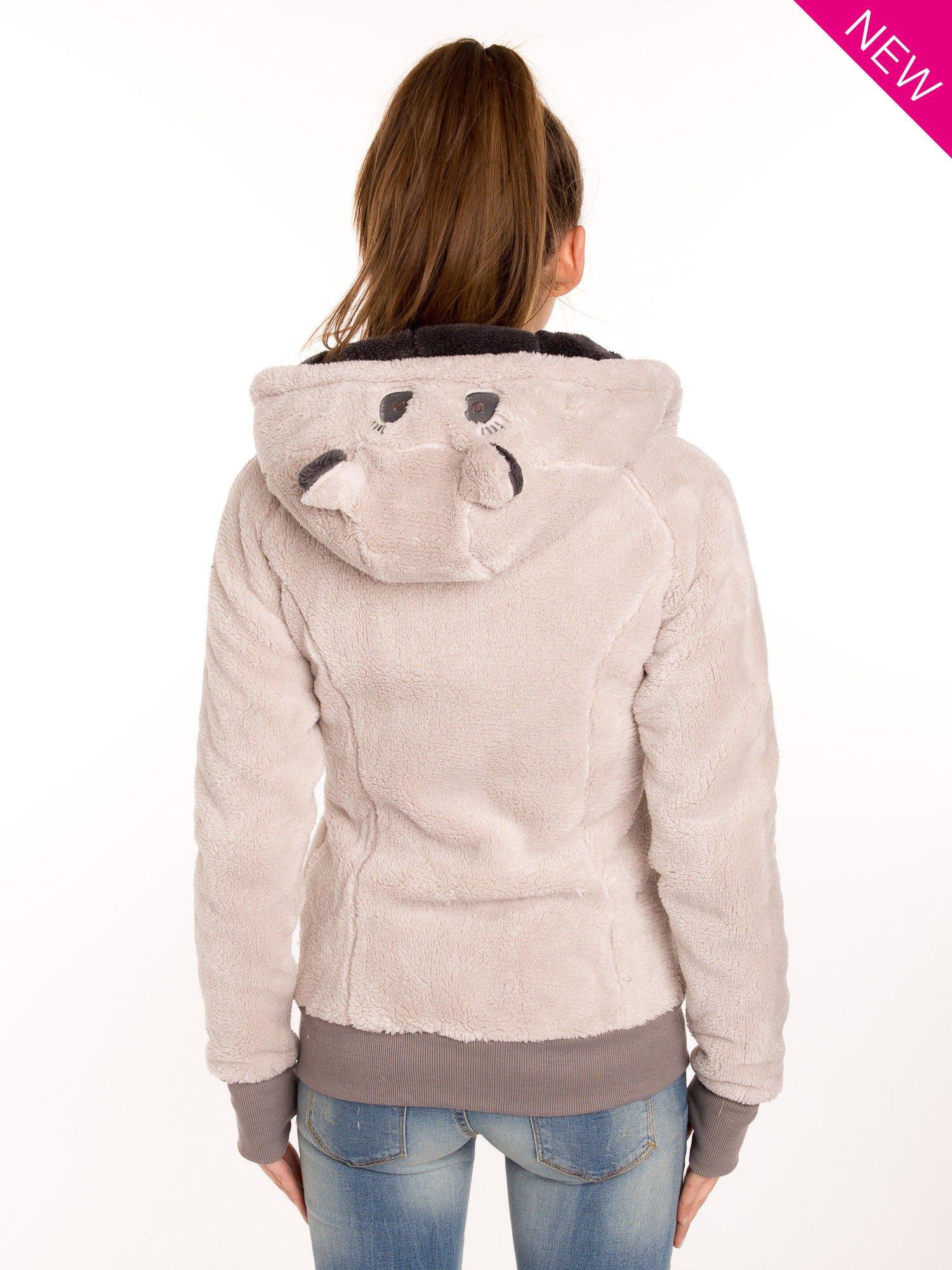 Kremowa polarowa bluza miś z kapturem z uszkami                                  zdj.                                  3